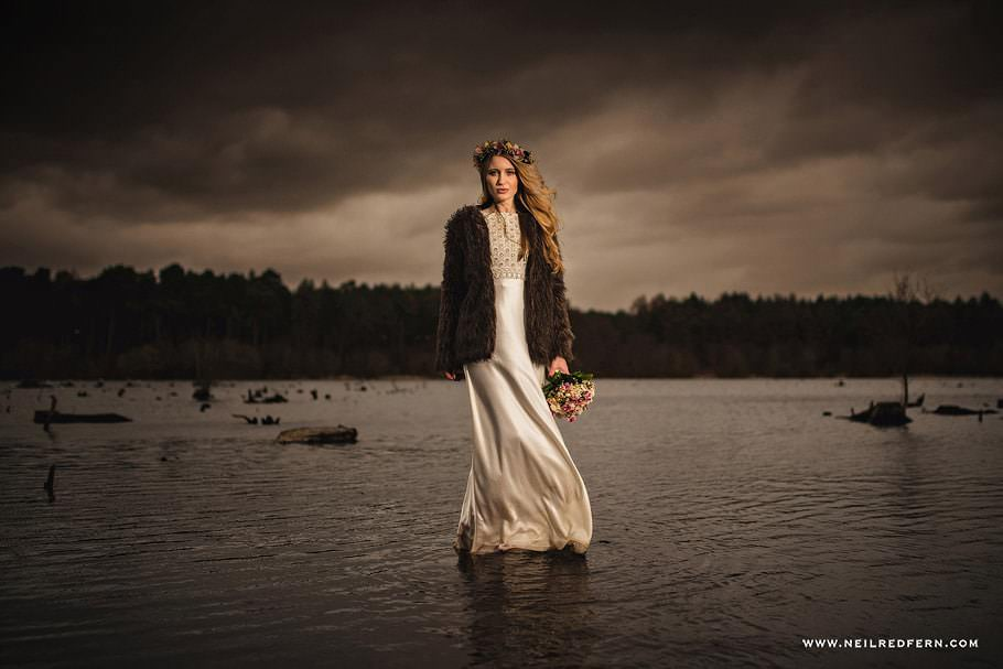 Bride in the lake
