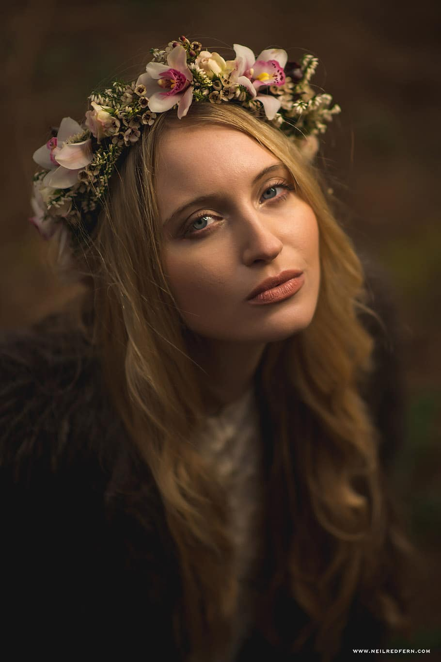 Bride wearing Flower Headdress 3