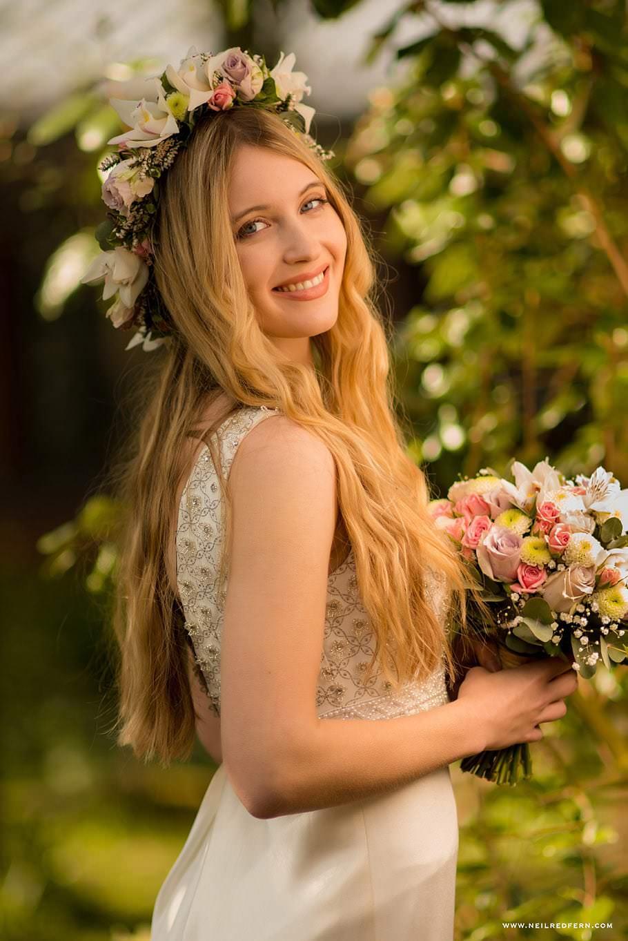 Bride wearing flower headdress