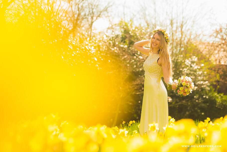 Summer bride in daffodils