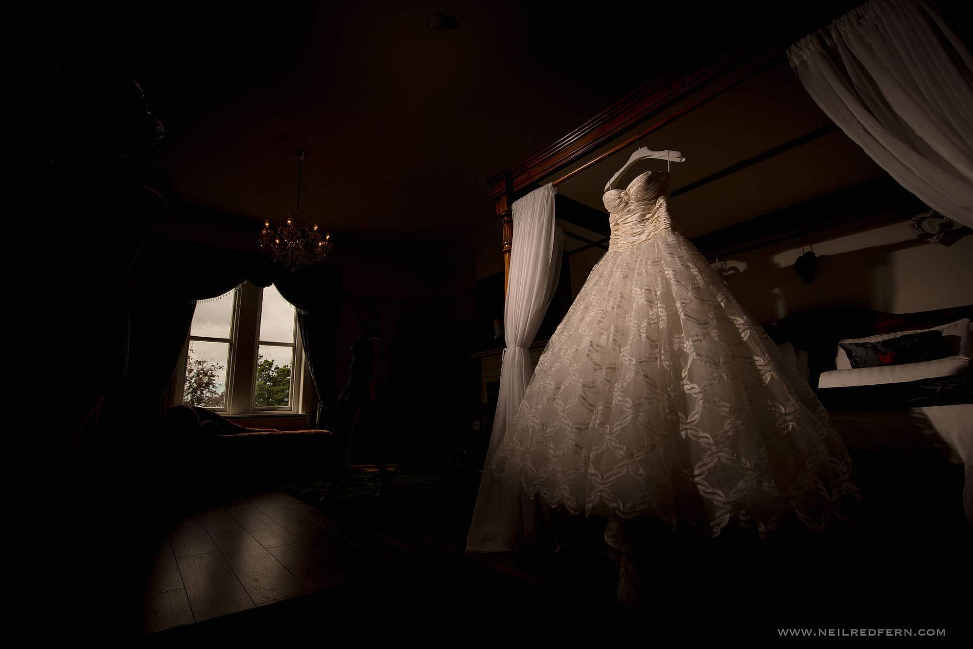 wedding dress hung up at West Tower in Lancashire