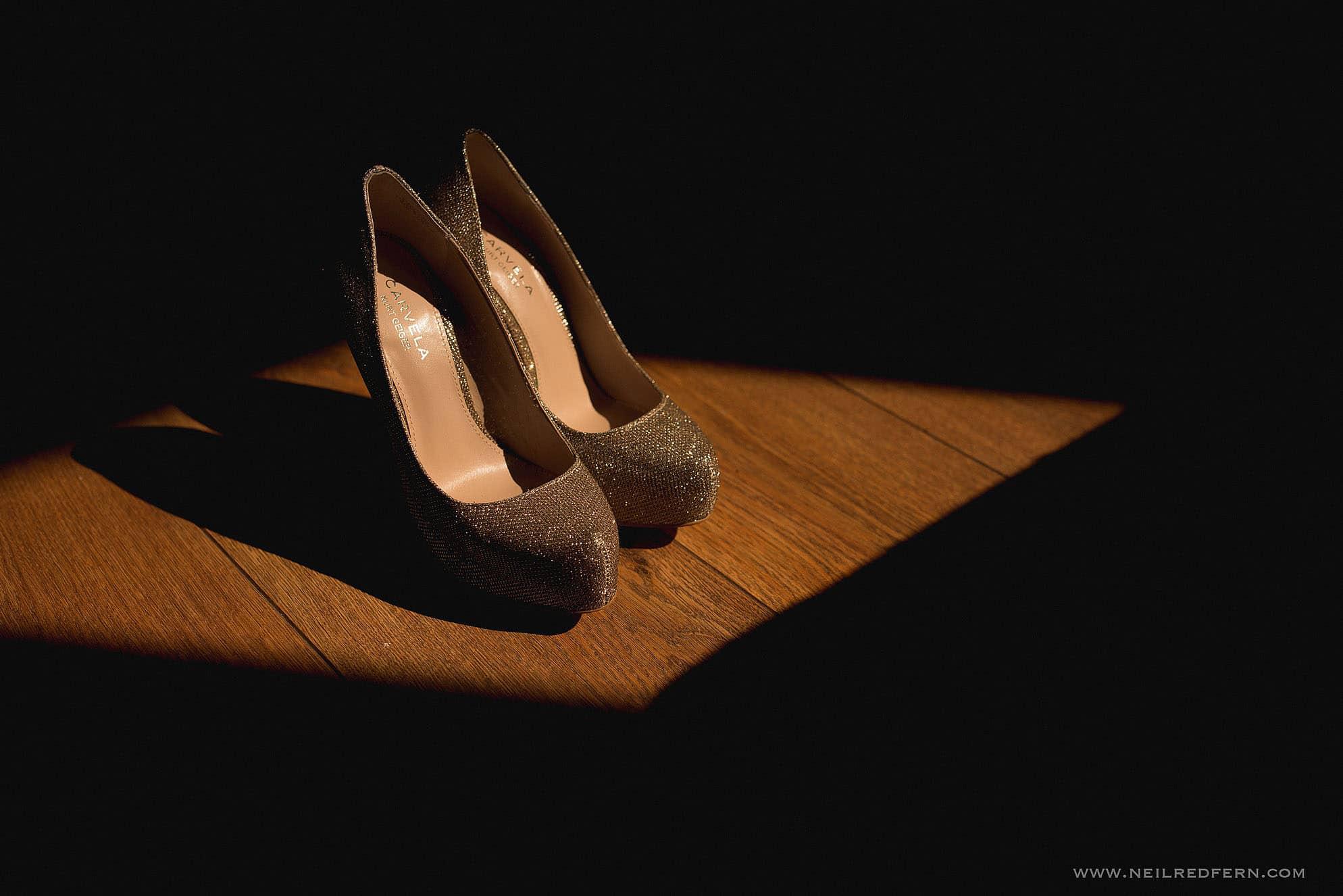 photograph of bride's shoes