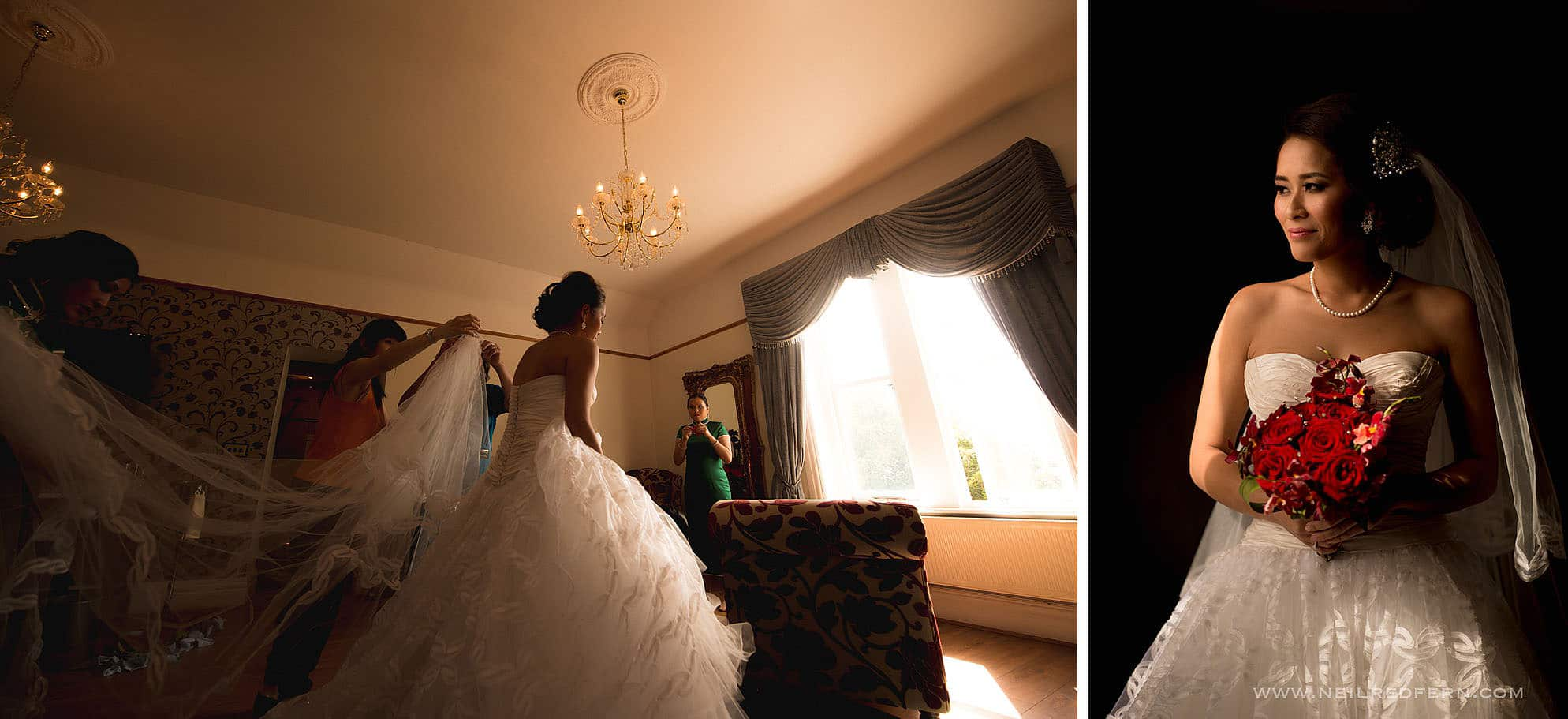 bride getting ready at West Tower in Lancashire