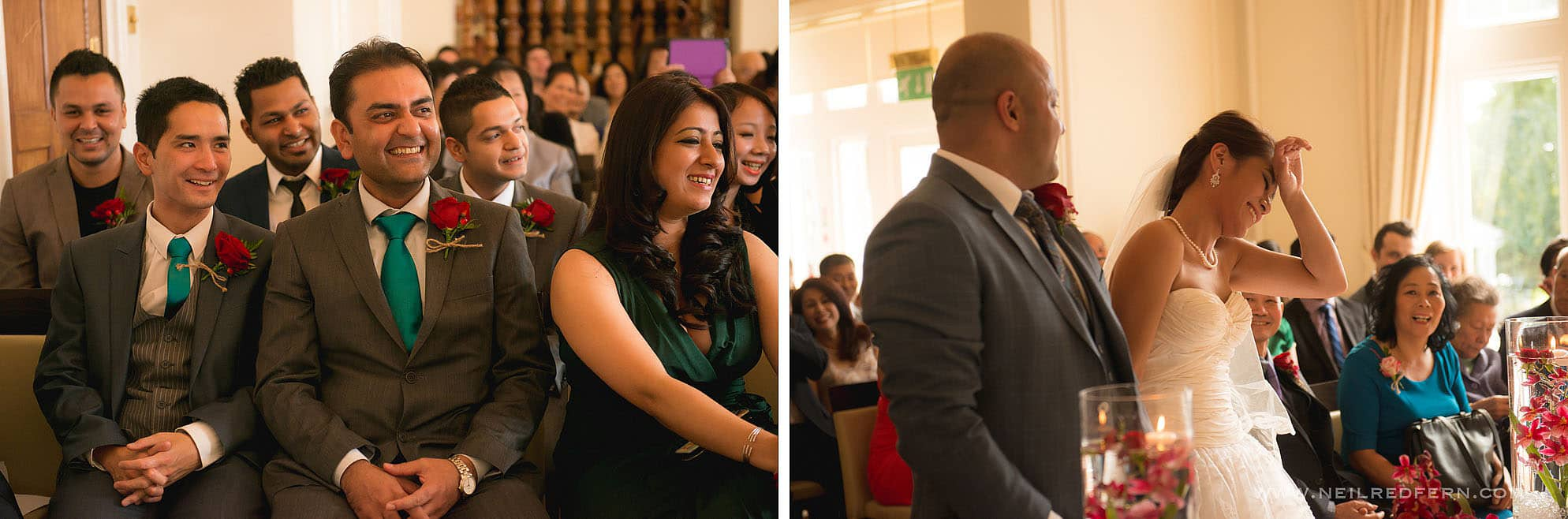 guests laughing during wedding ceremony