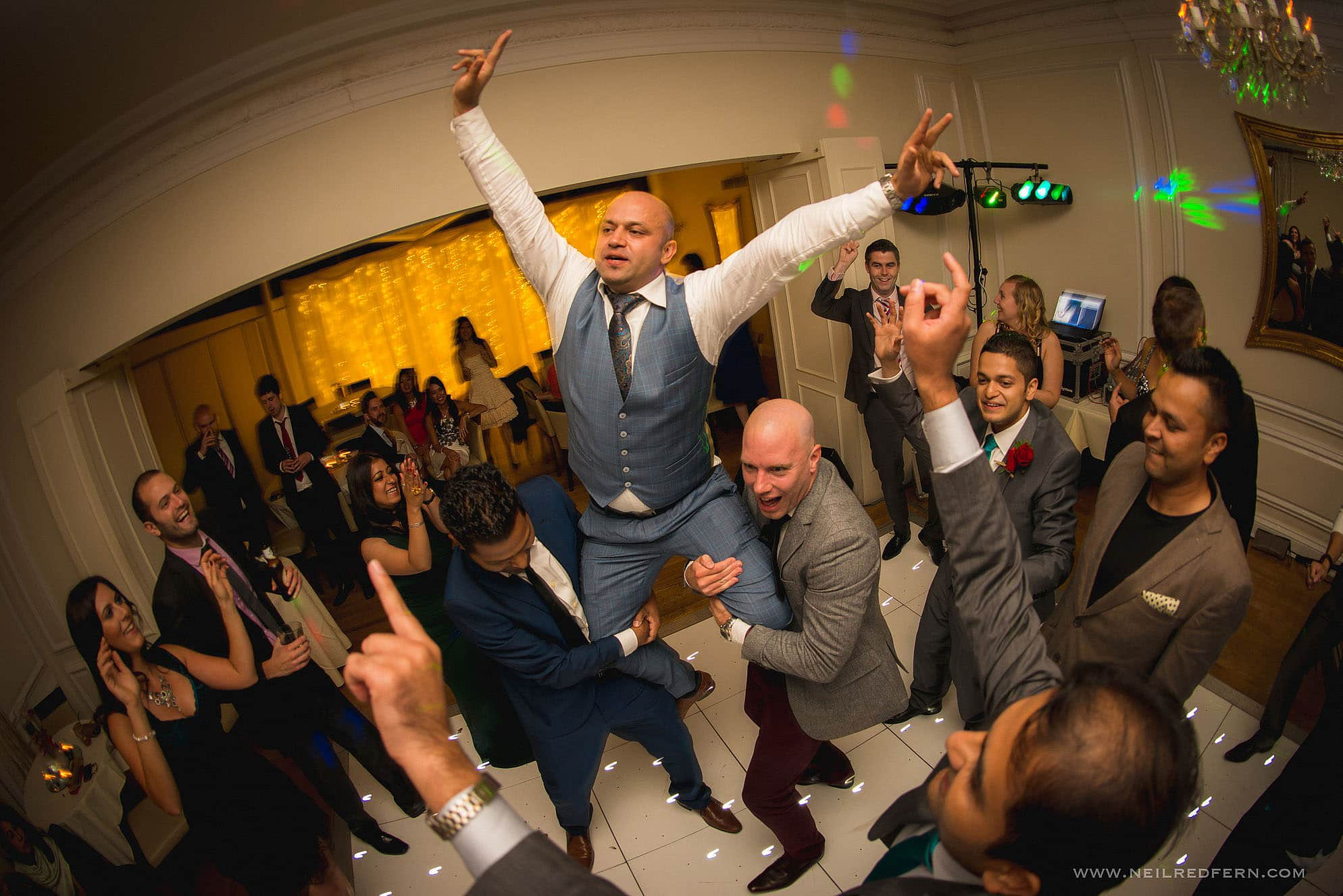 dancing photograph at wedding at West Tower in Lancashire