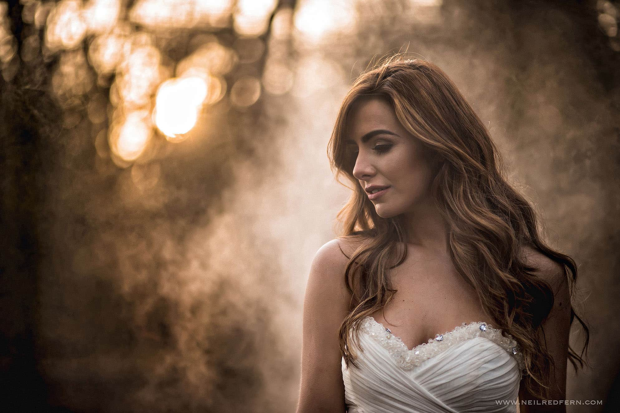Bride stood in smoke