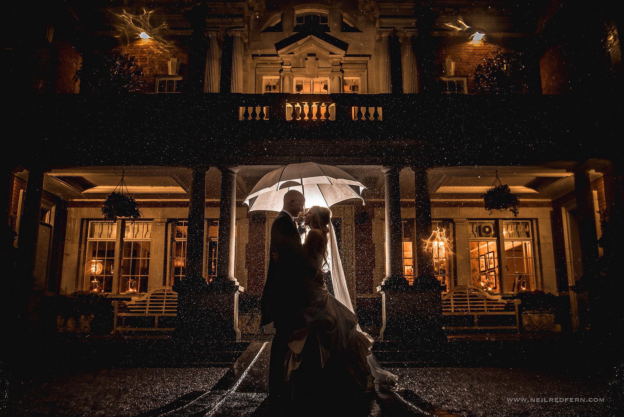 wedding photograph in the rain