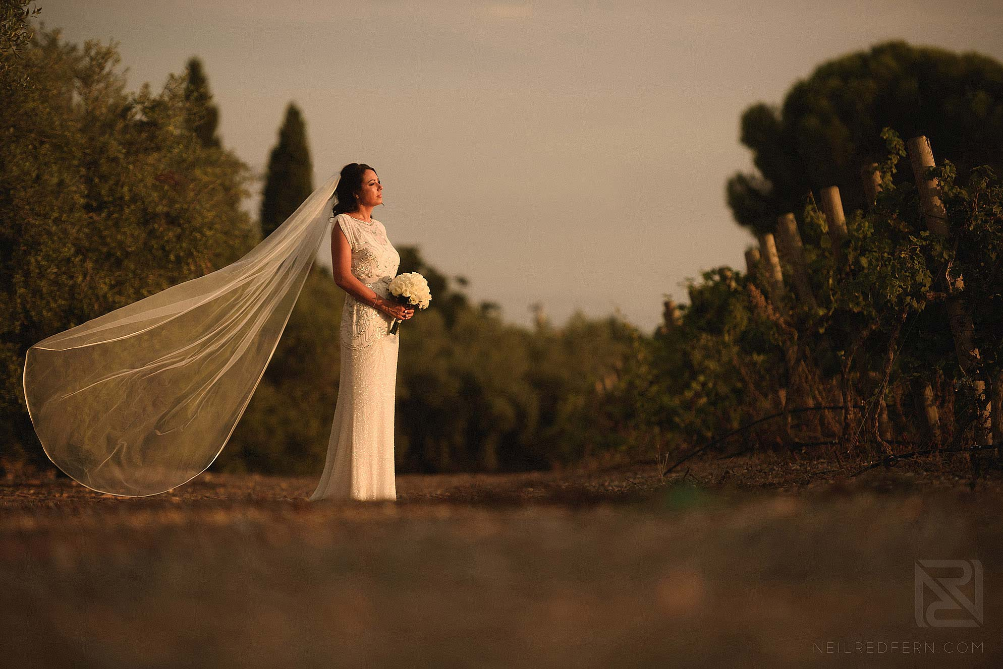 sunset photograph of bride in Spain