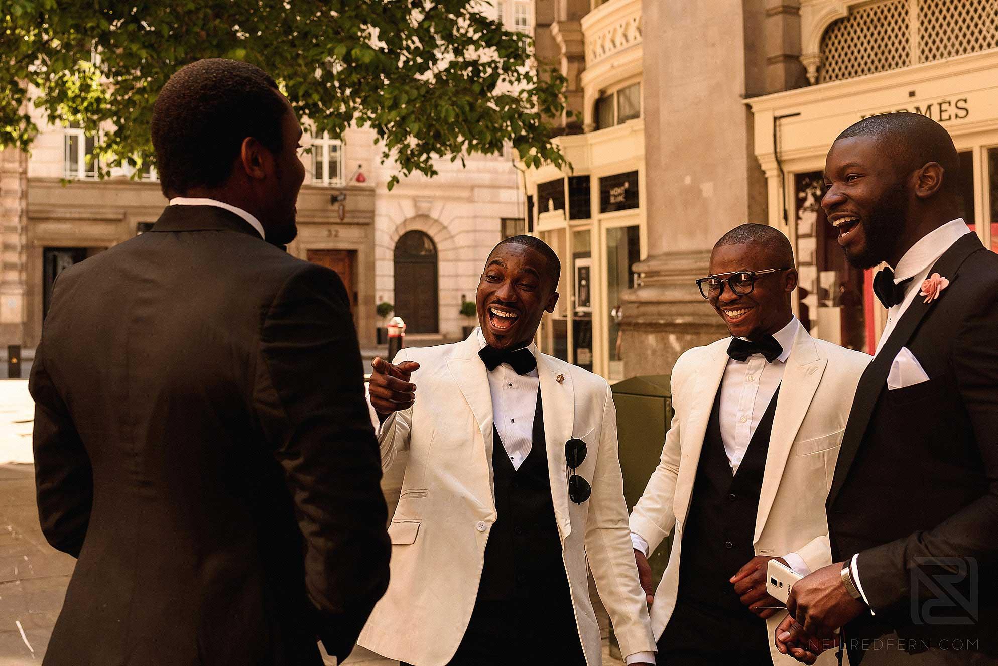 Groomsmen outside The Royal Exchange London