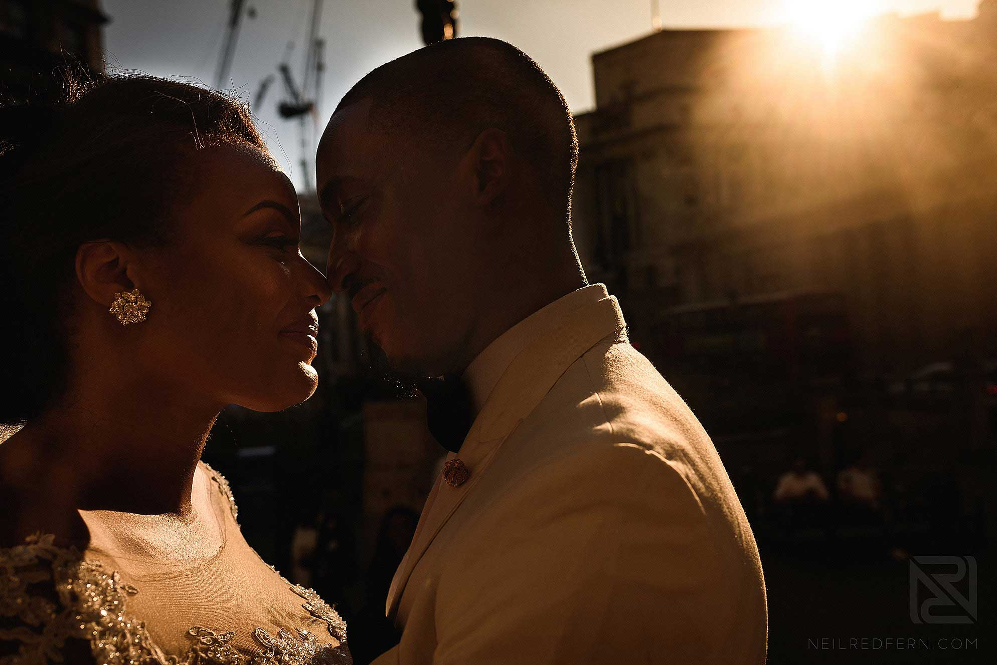 sunset photograph of bride and groom at Royal Exchange London