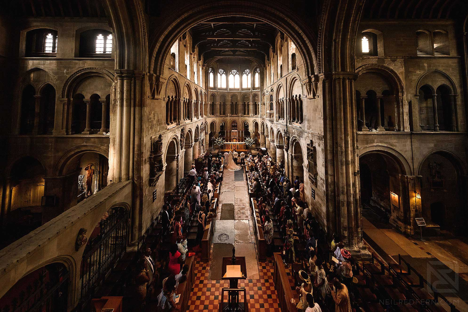 wide angle photography of St Bartholomew the Great church in London