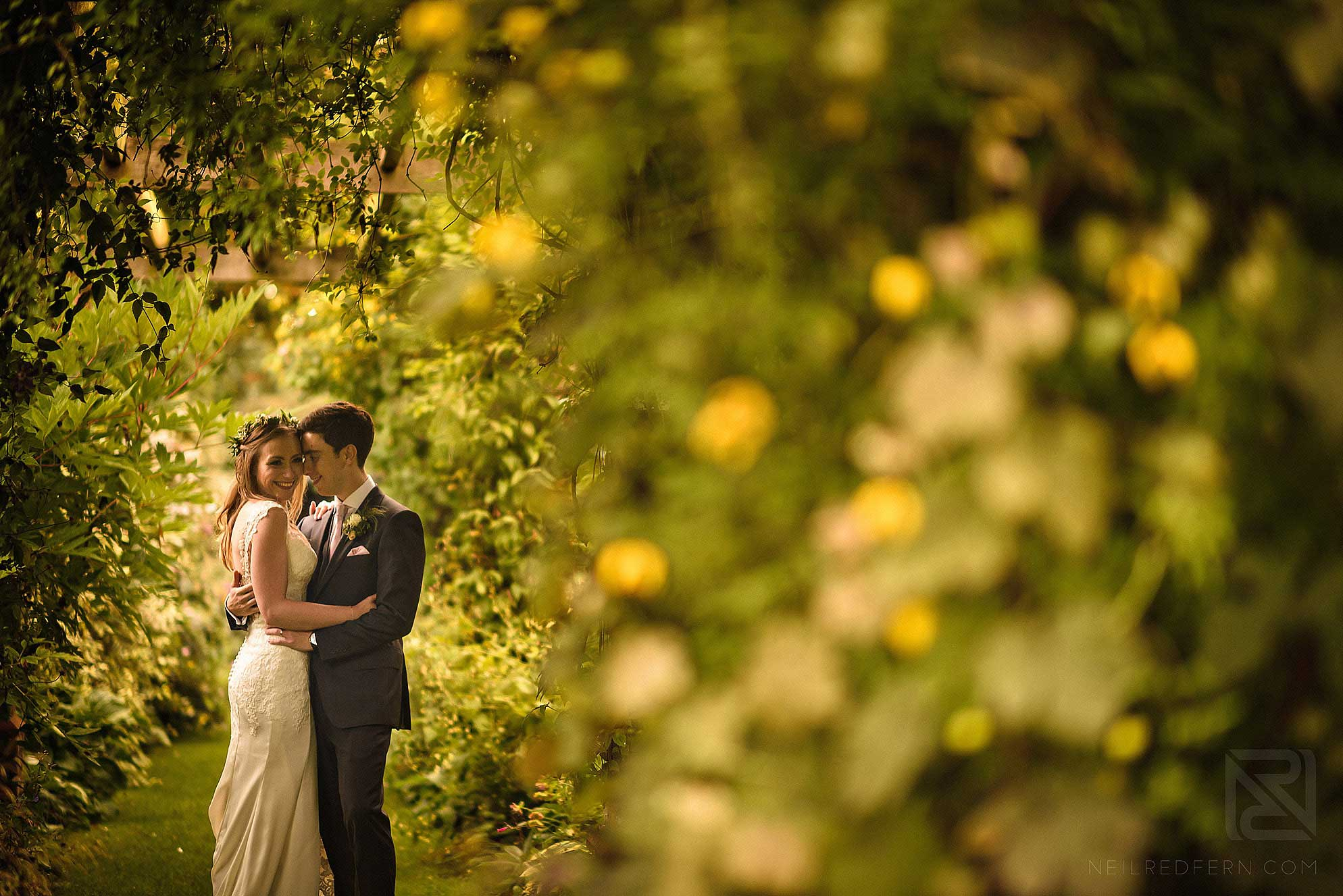 photograph of bride and groom together at Abbeywood Estate