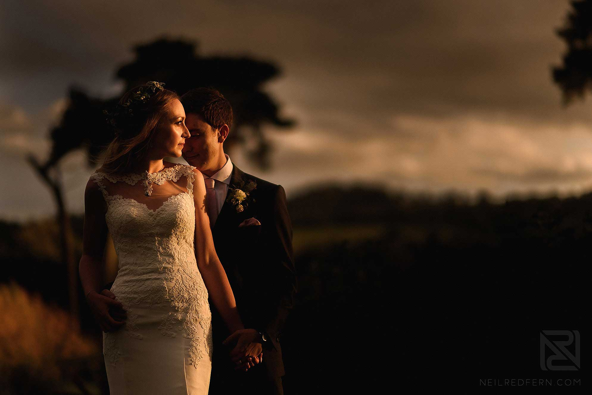 romantic portrait of bride and groom at Abbeywood Estate