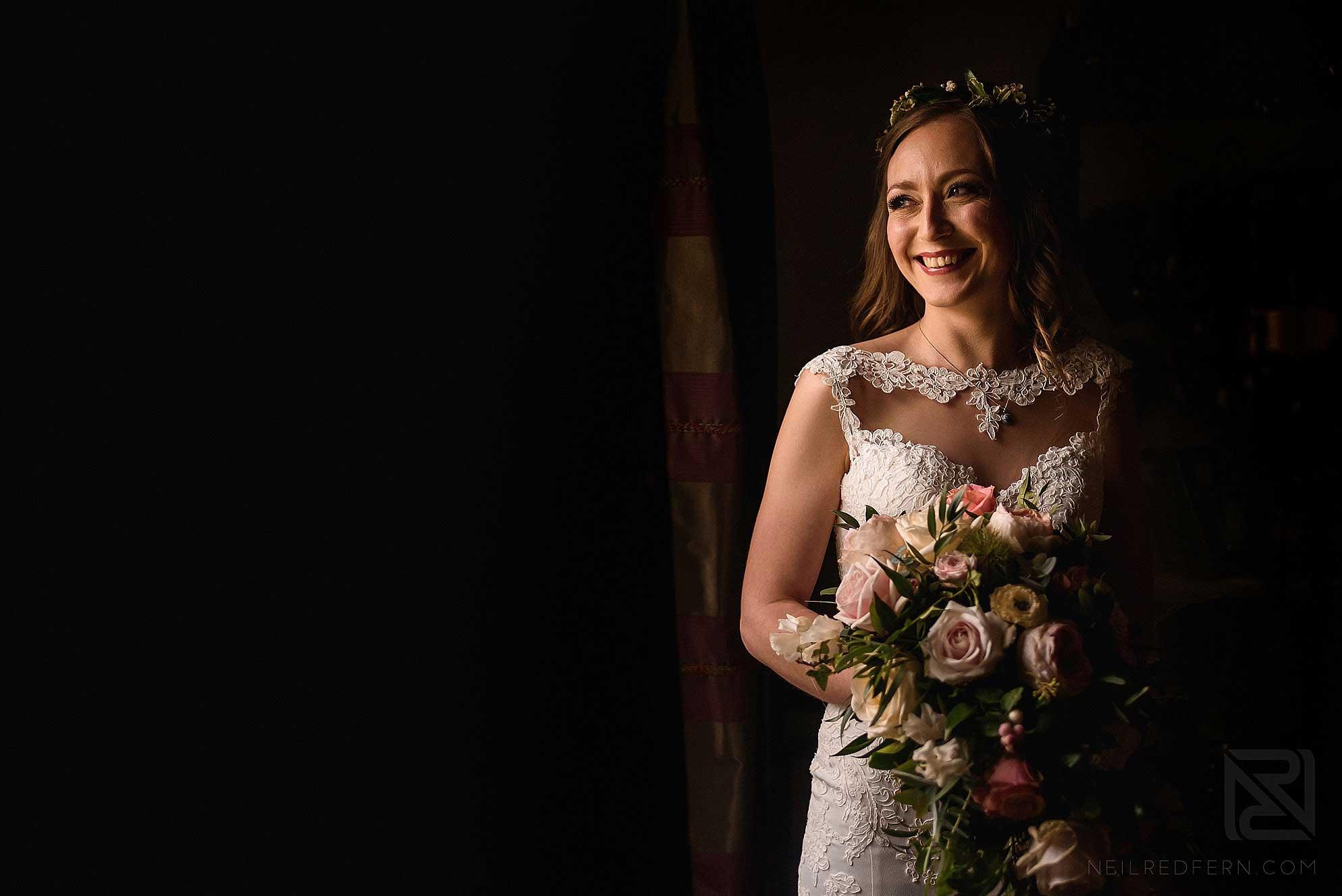 portrait of bride by window
