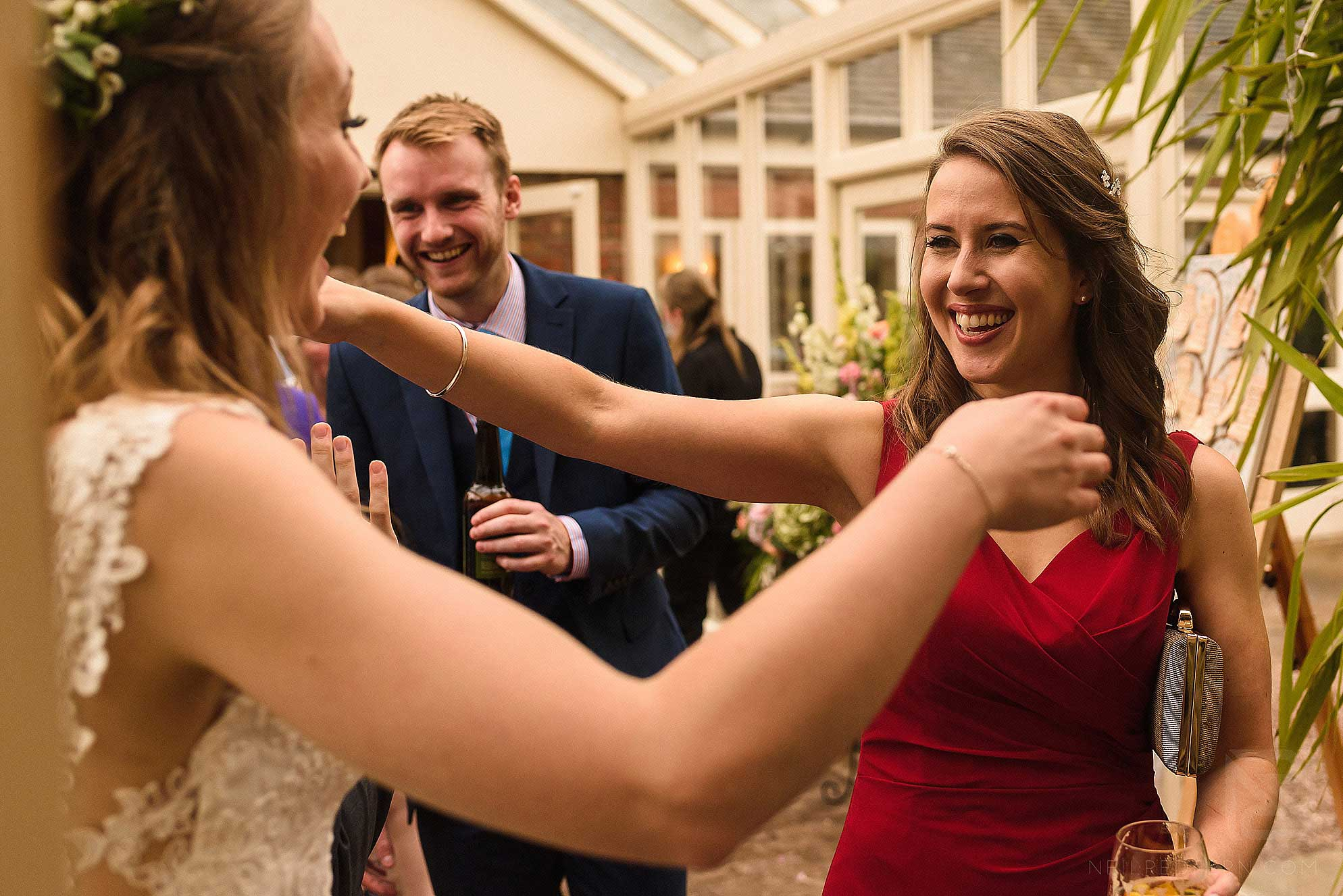 smiles during receiving line