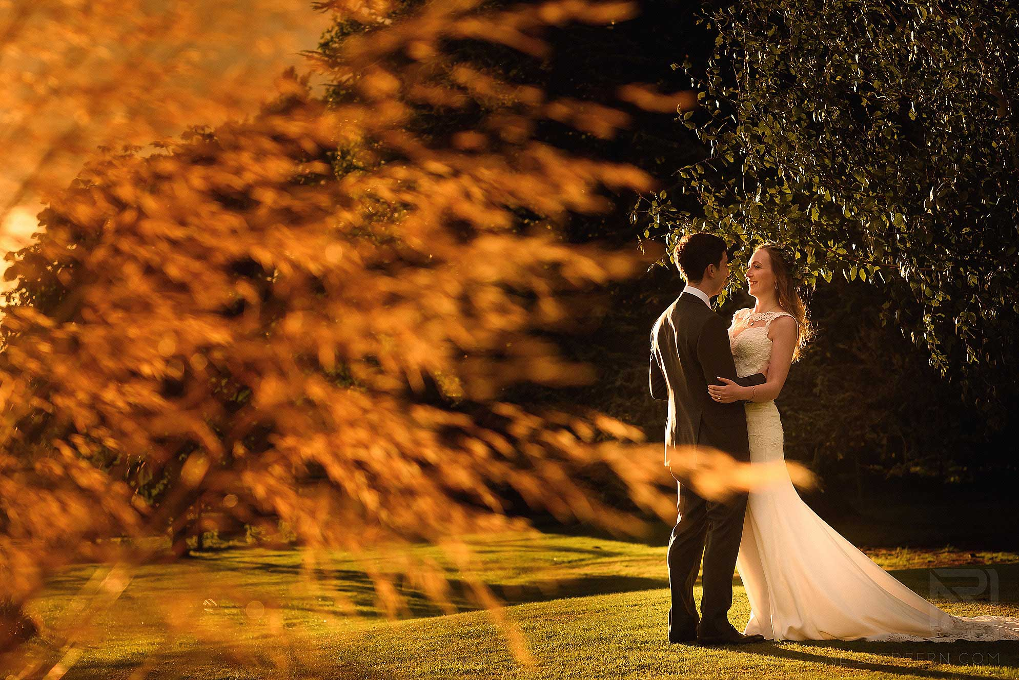 evening photograph of bride and groom