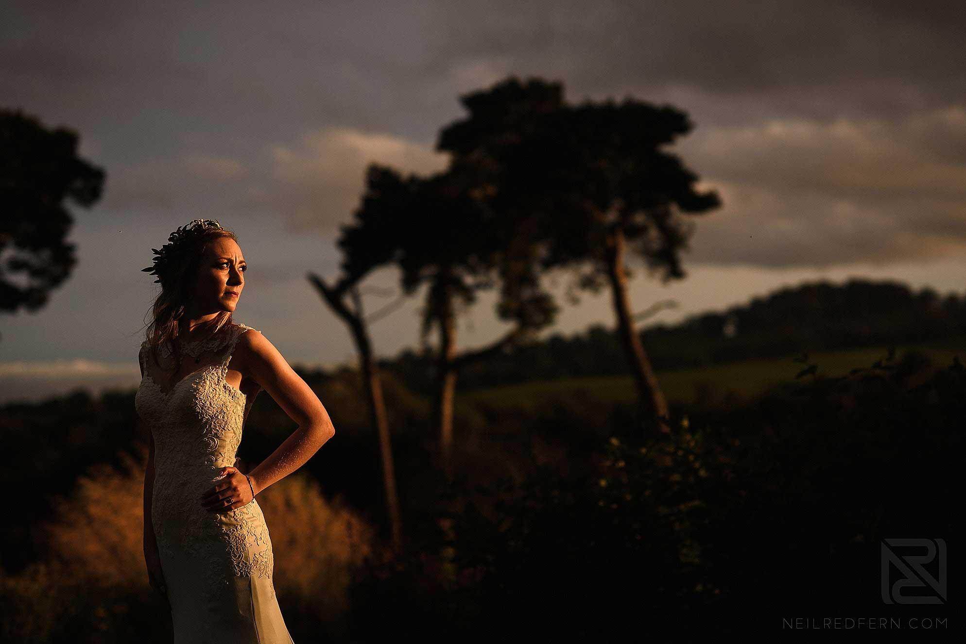 evening portrait of bride
