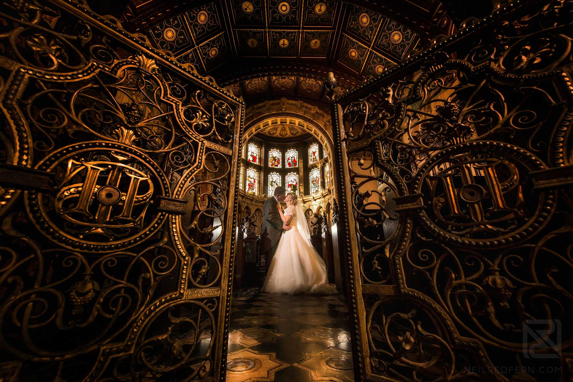 bride and groom in Chapel at Crewe Hall