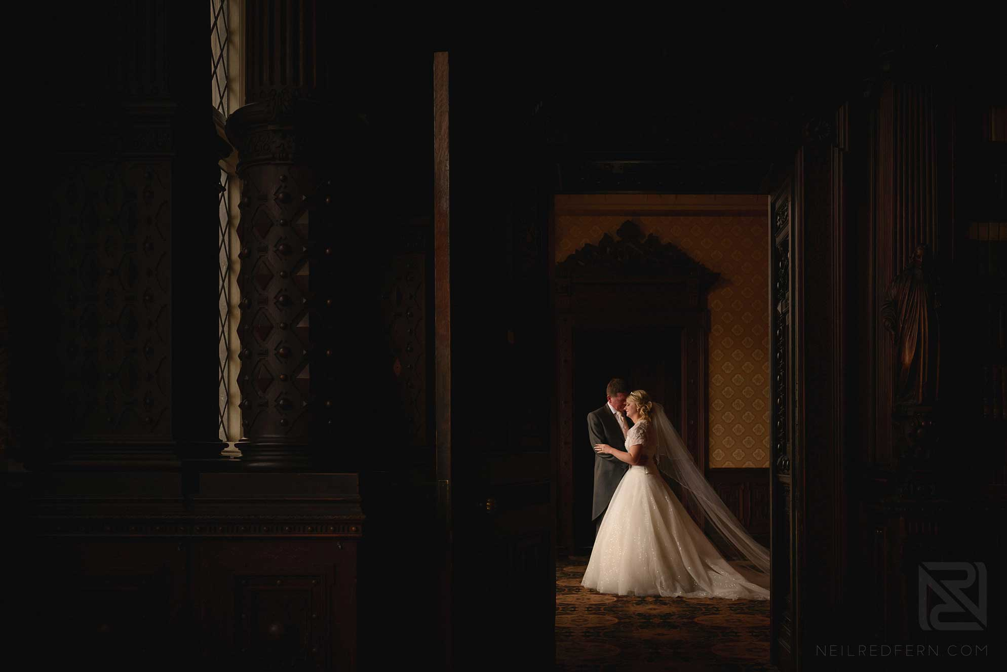 romantic photograph of bride and groom in Crewe Hall