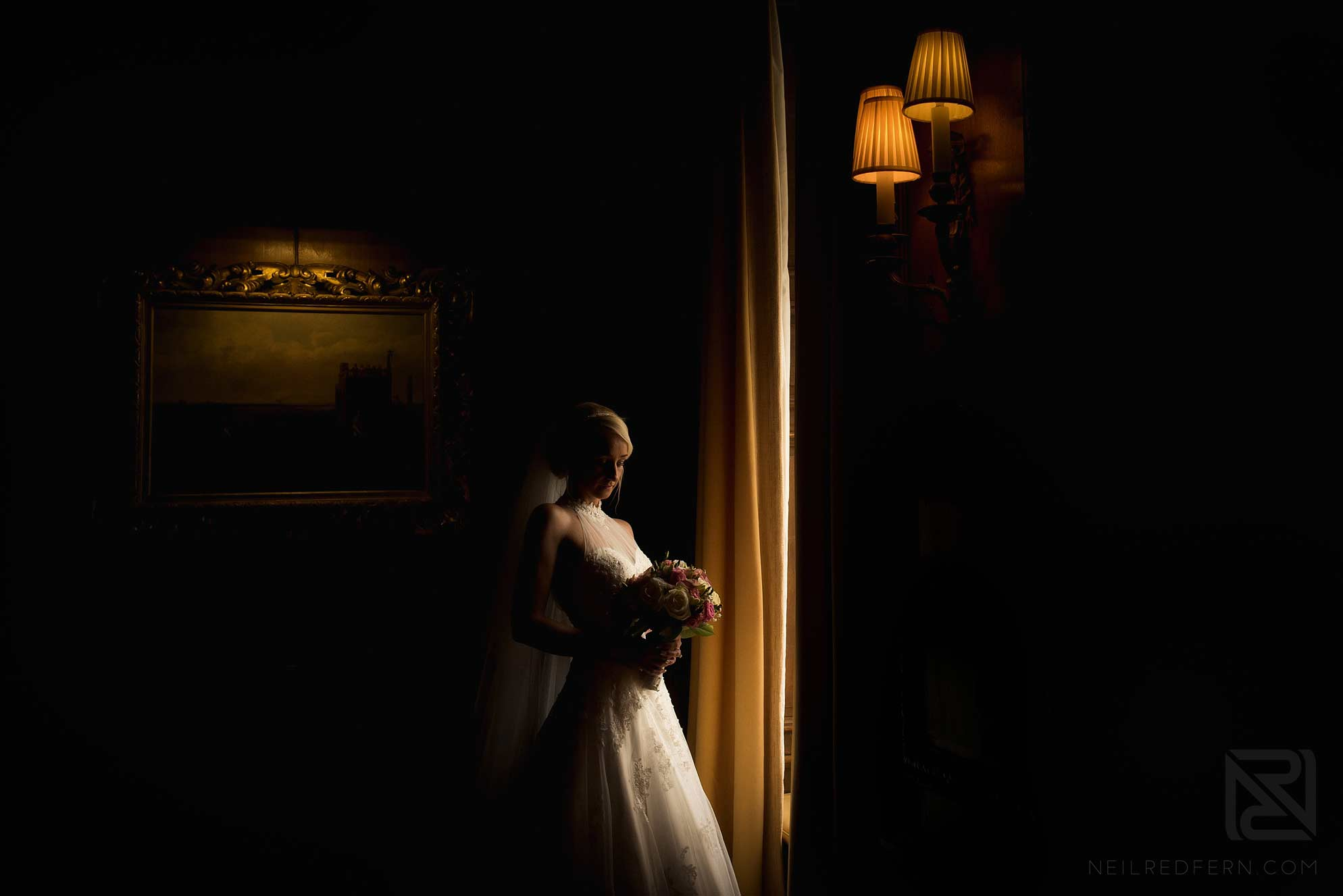 beautiful window light portrait of bride