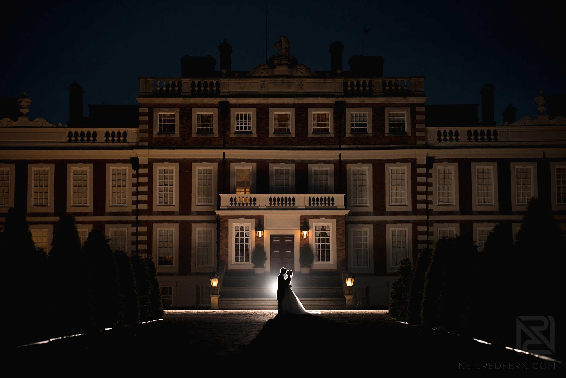 creative wedding photograph of bride and groom taken at Knowsley Hall