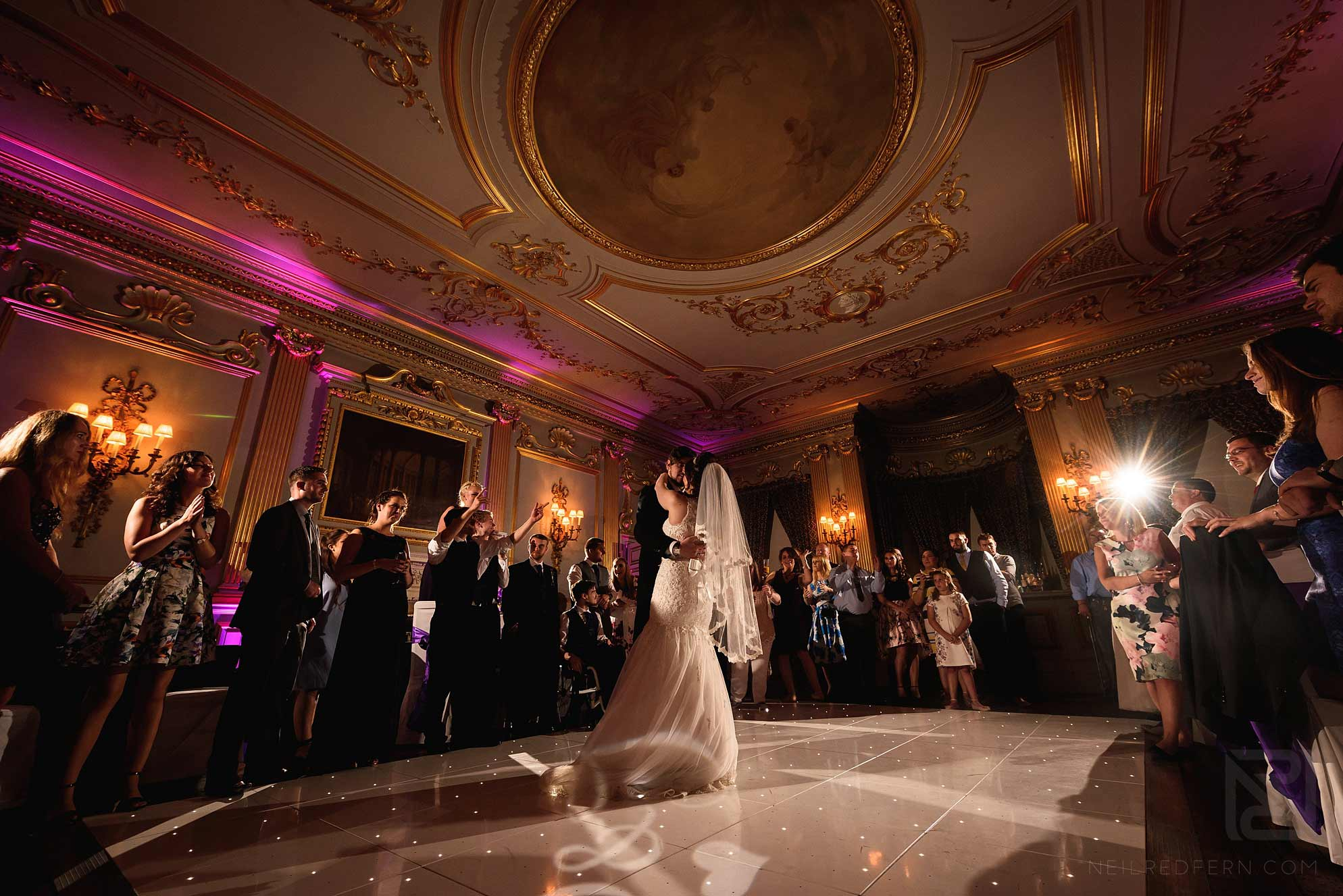 bride and groom first dance at Knowsley Hall