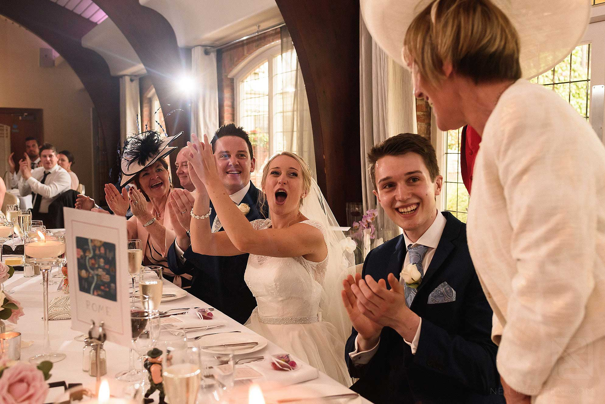 top table cheering during speeches