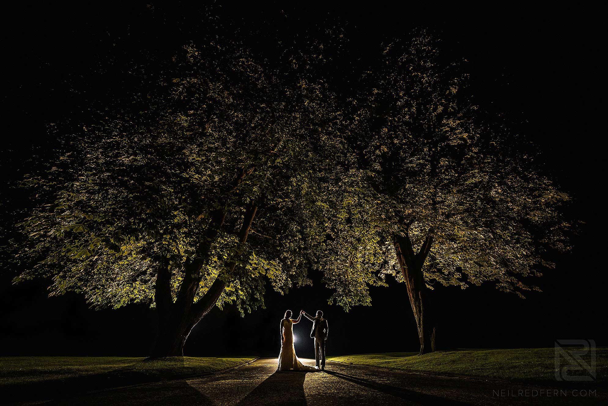 off camera flash wedding photo taken at night