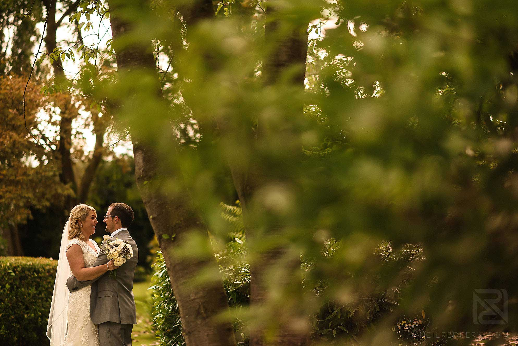 photo of bride and groom in gardens at Colshaw Hall