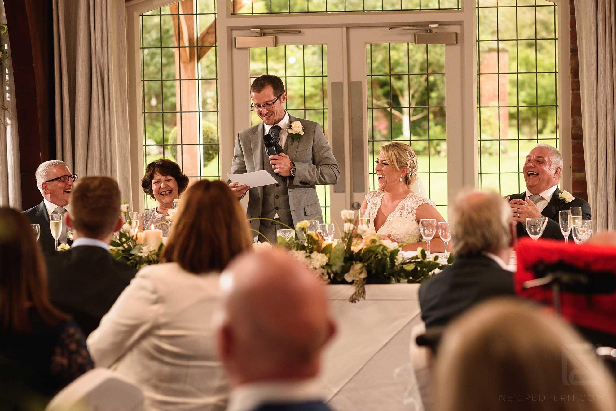 groom wedding speech at Colshaw Hall