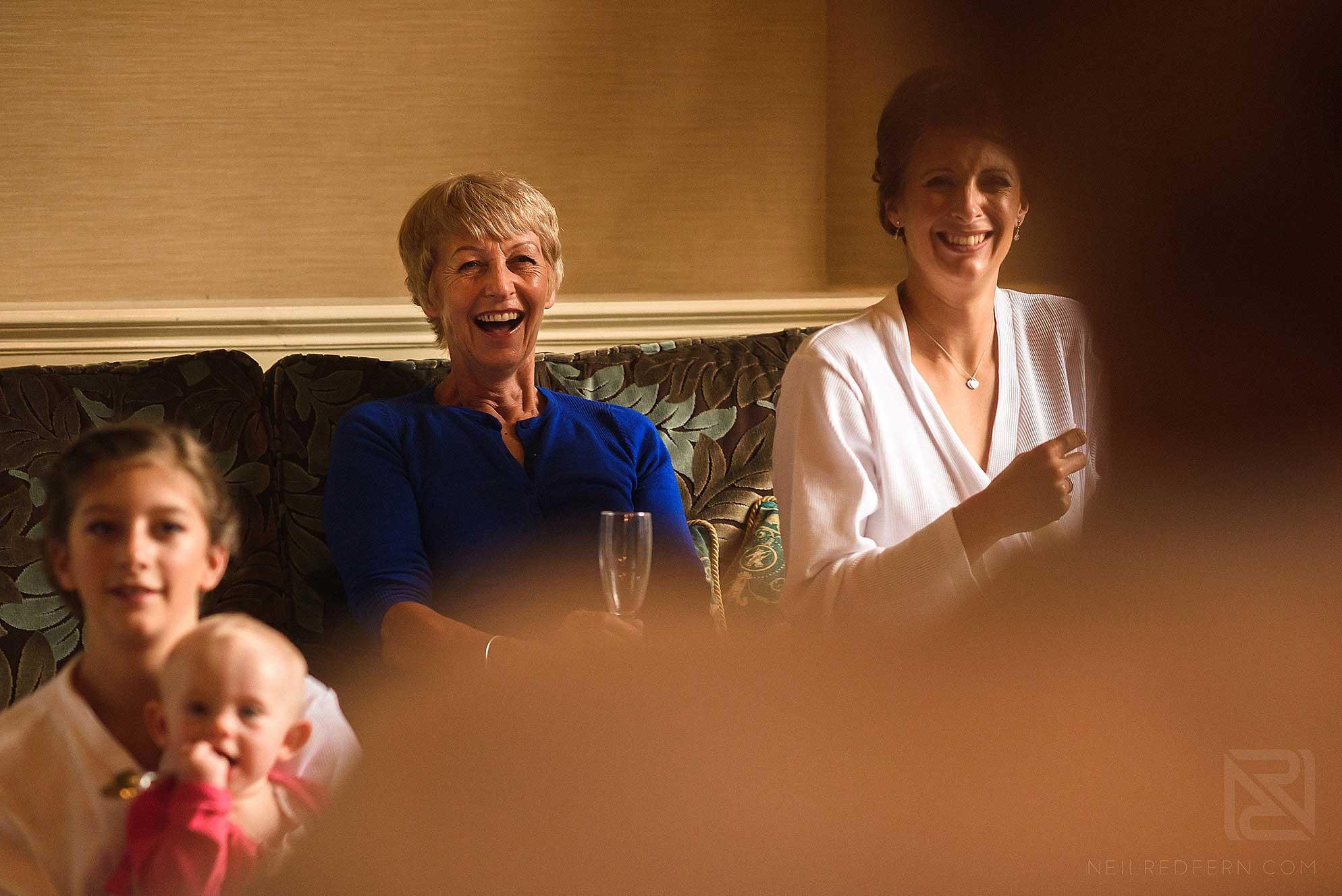 bride's mum laughing