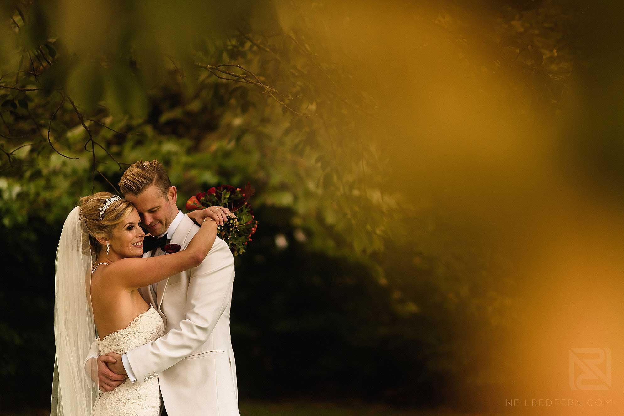 romantic moment between bride and groom