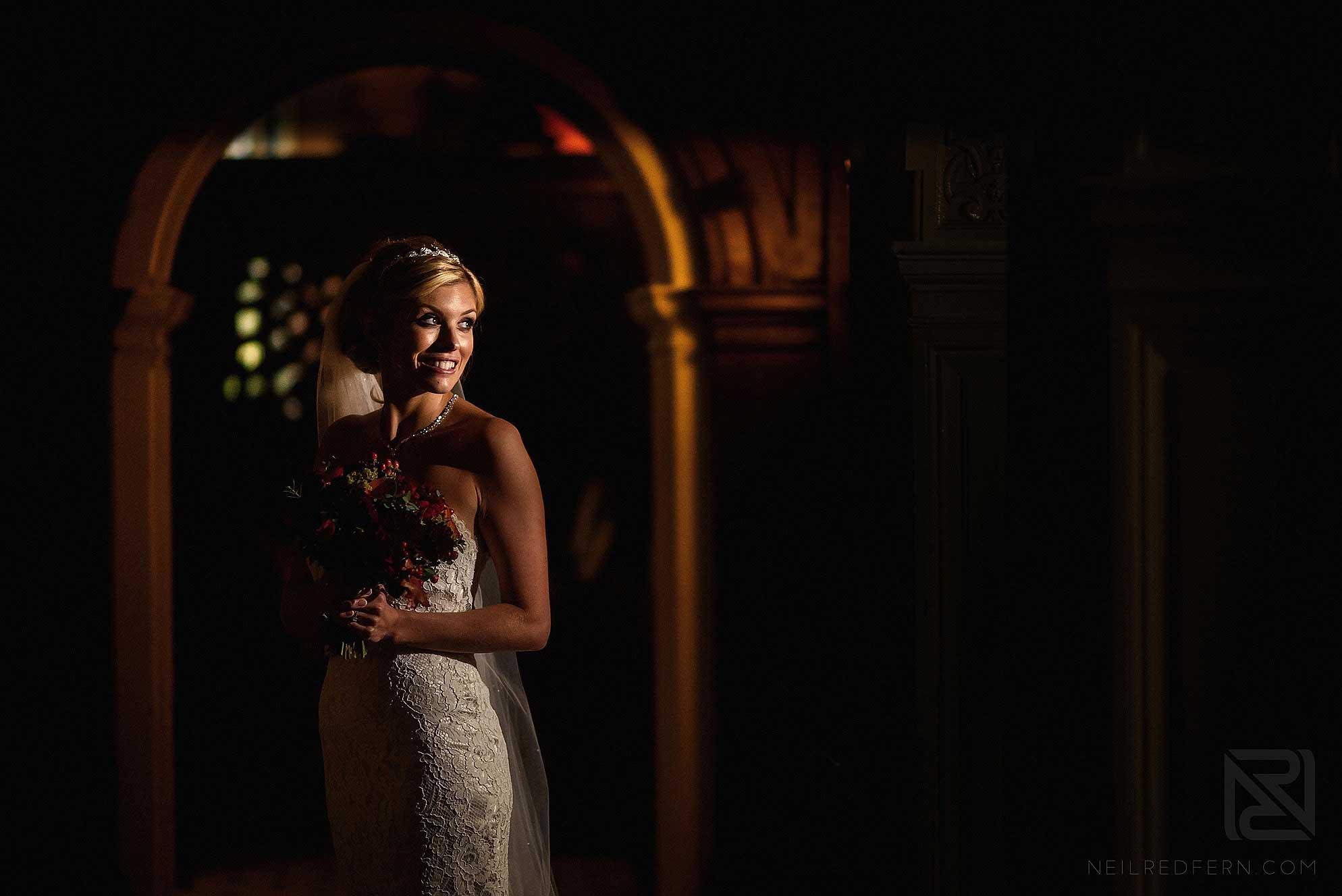 indoor portrait of bride