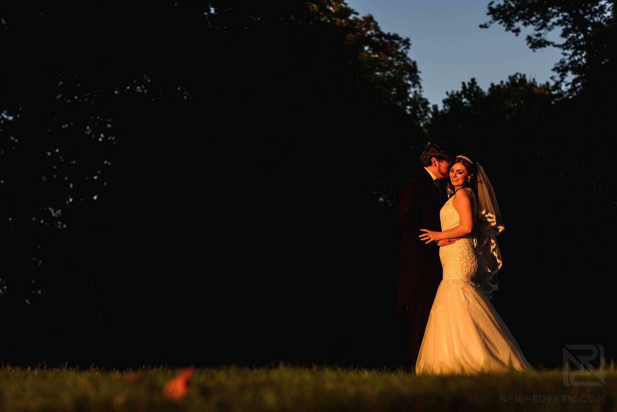 evening portrait of bride and groom
