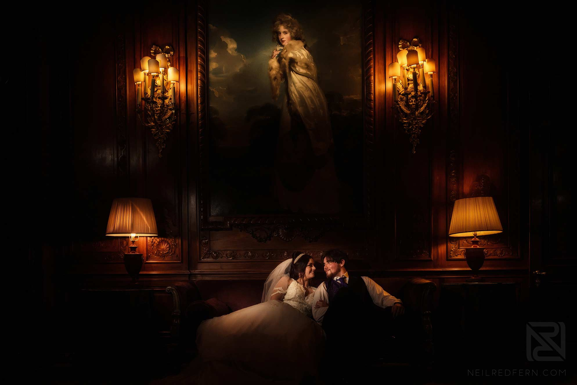 indoor photograph of bride and groom