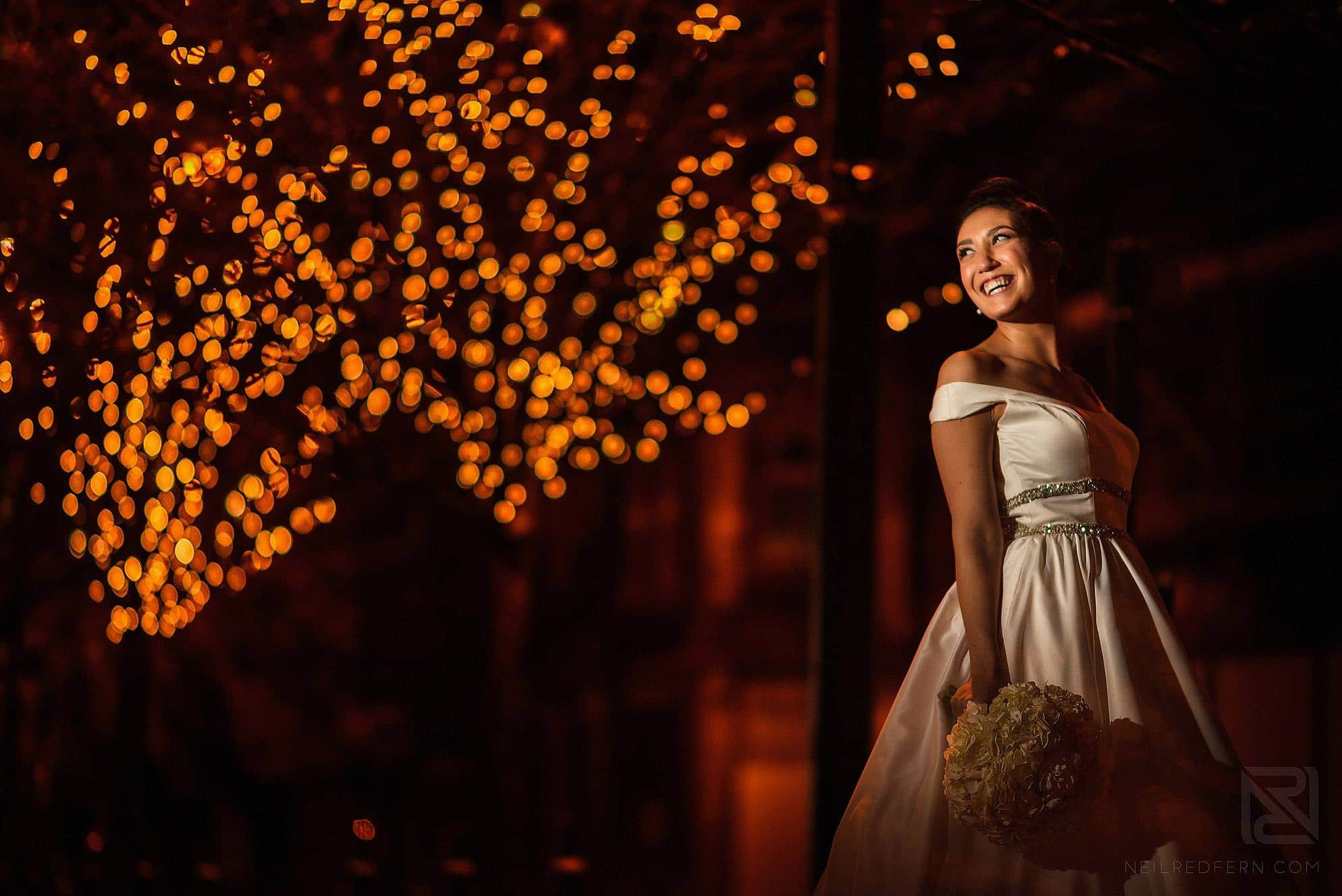 evening portrait of bride in Manchester city centre