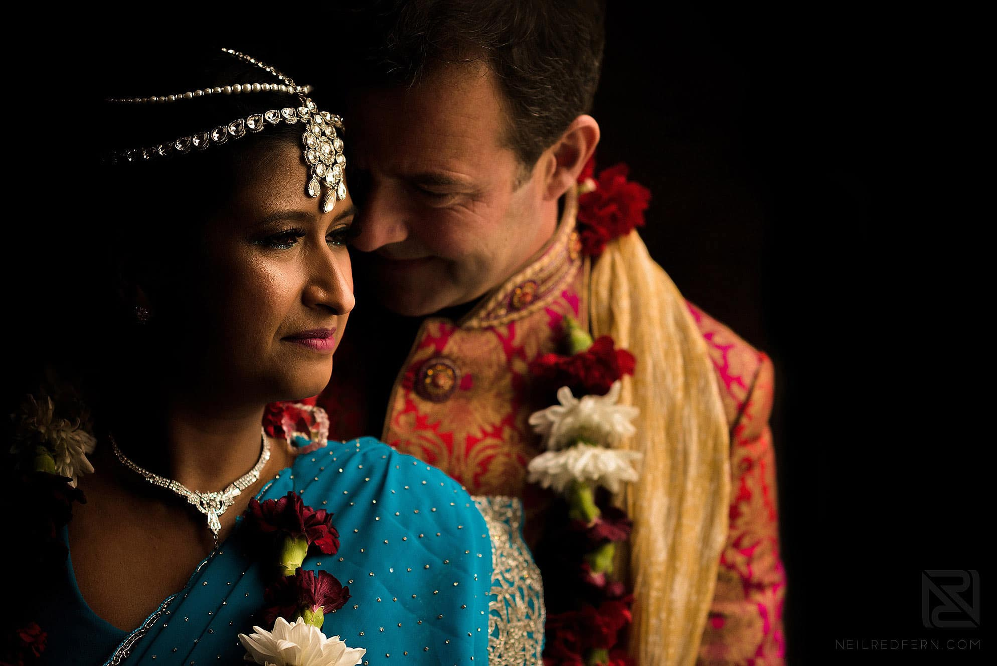 bride and groom portrait at Hindu wedding