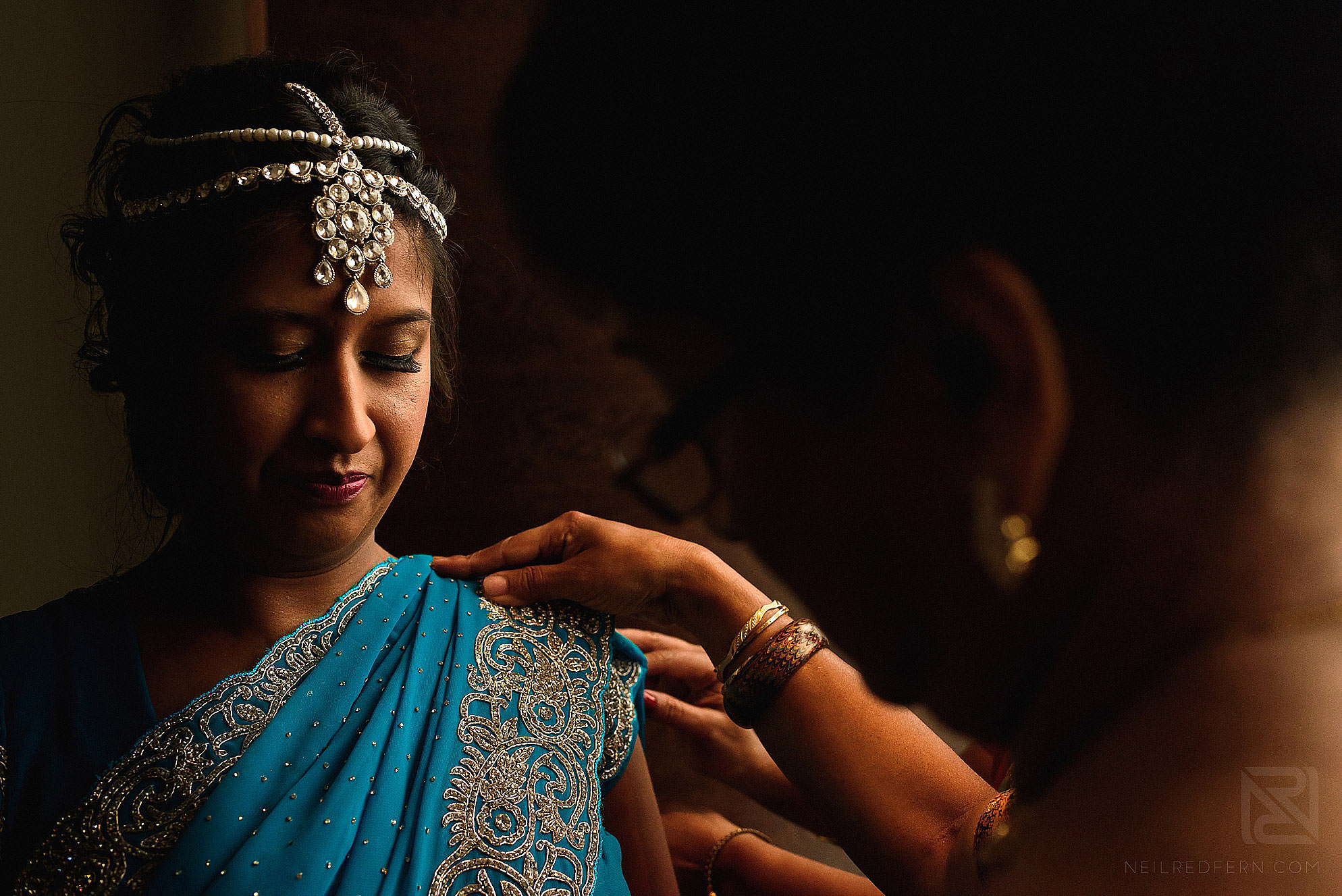 Hindu bride getting ready