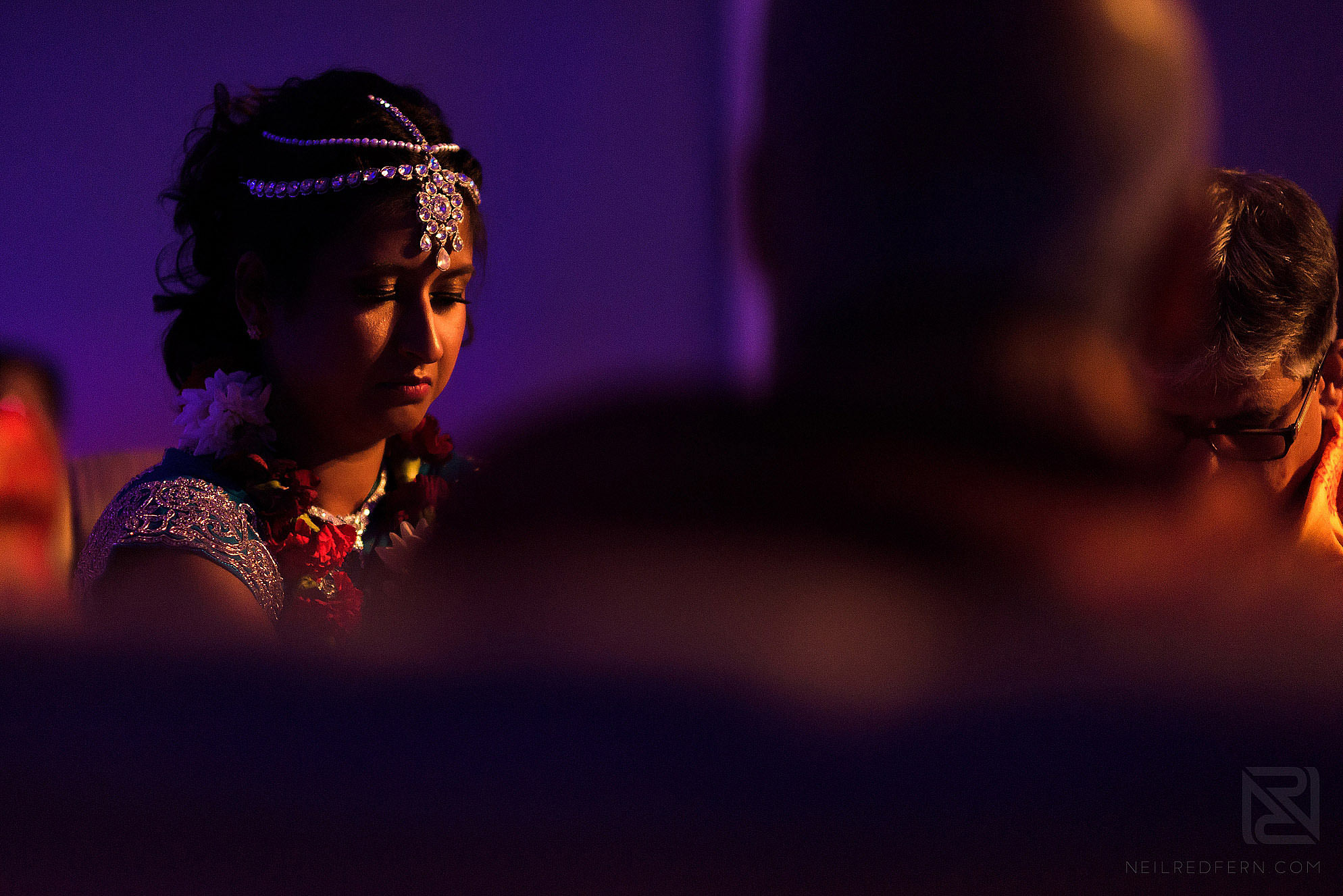 emotional bride during wedding ceremony