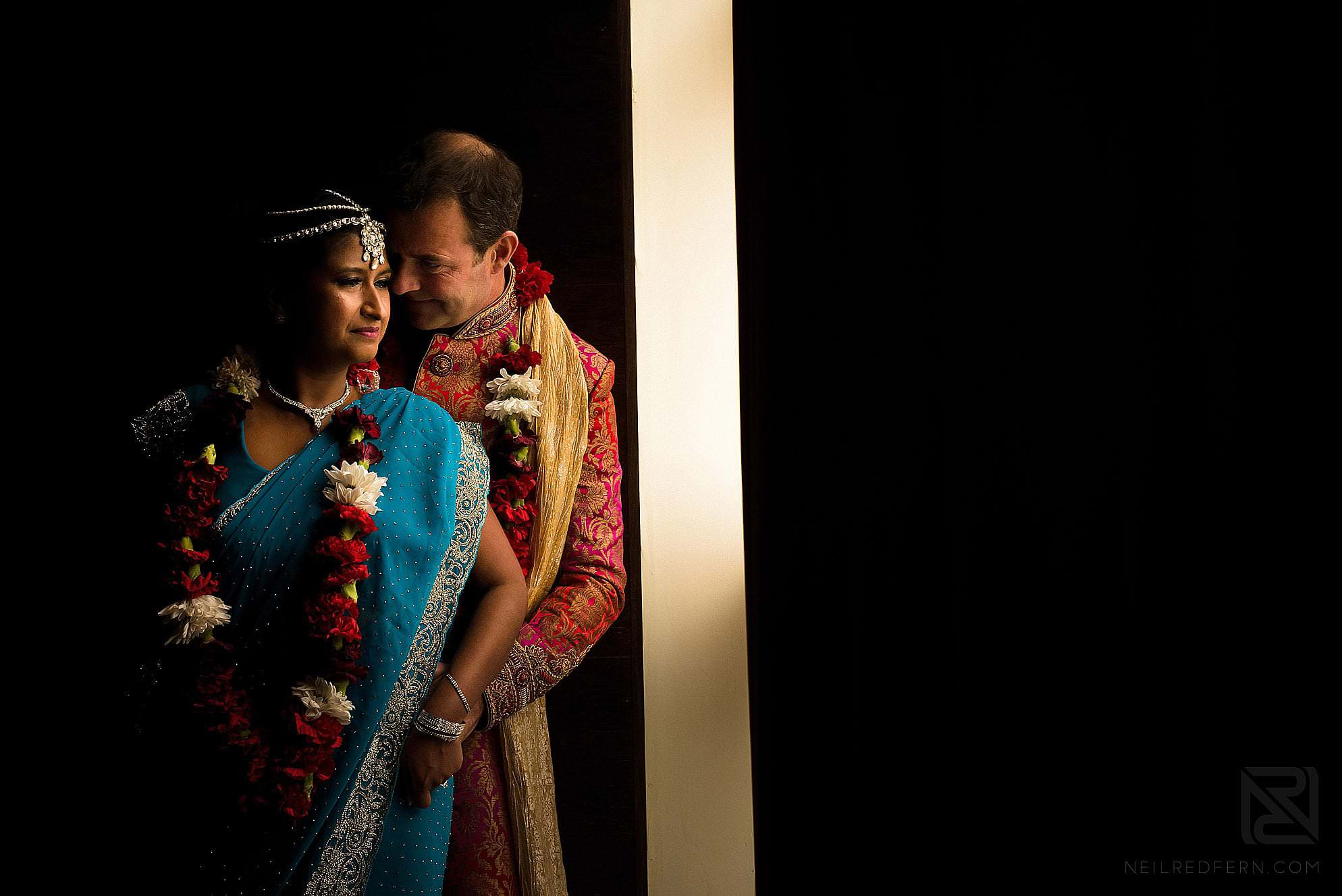 portrait of bride and groom together at Hindu wedding