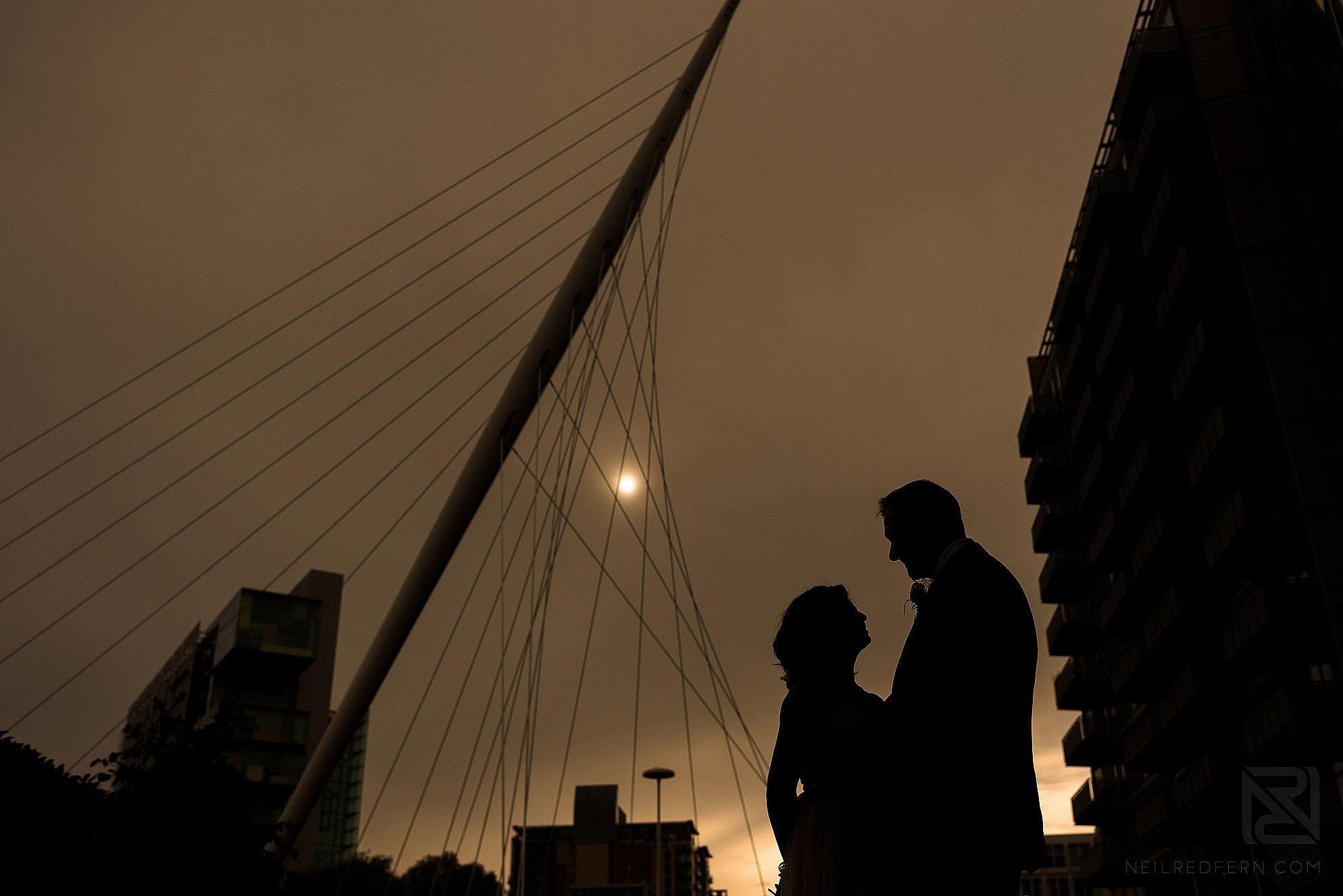 silhouette portrait of bride and groom