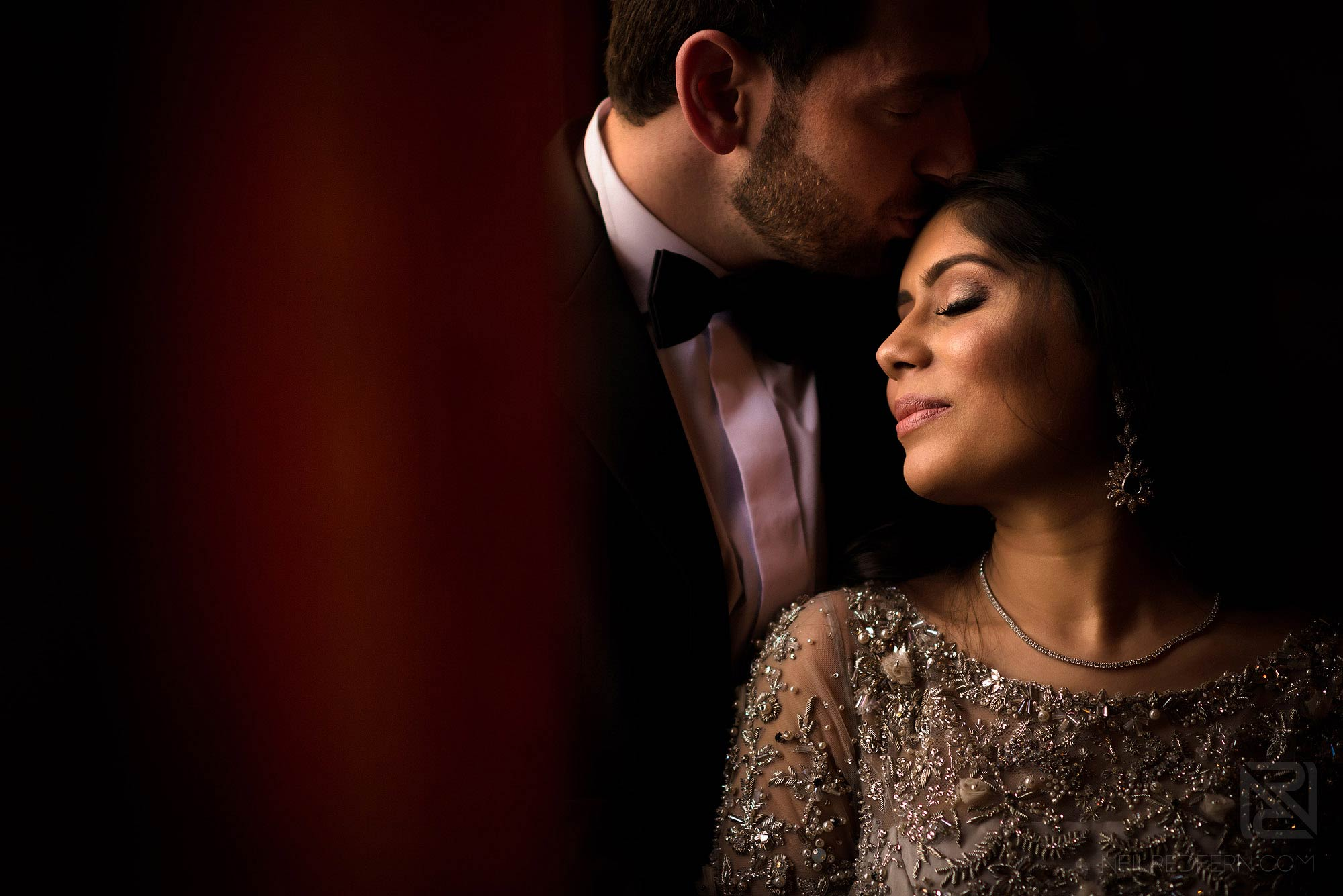 beautiful portrait of newly married couple