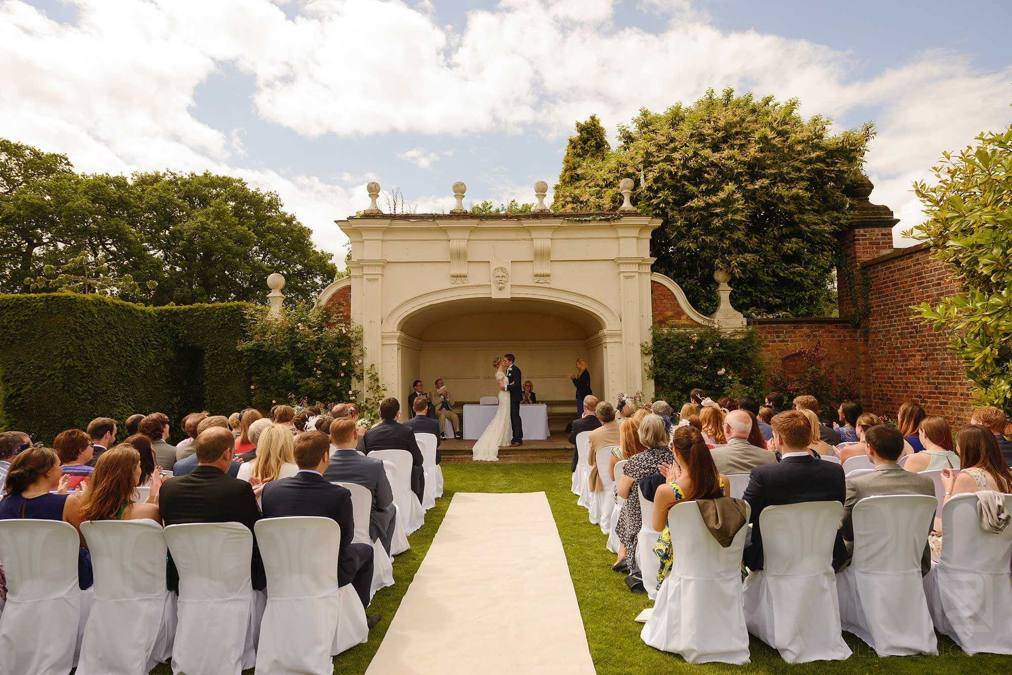 outside wedding ceremony at Arley Hall