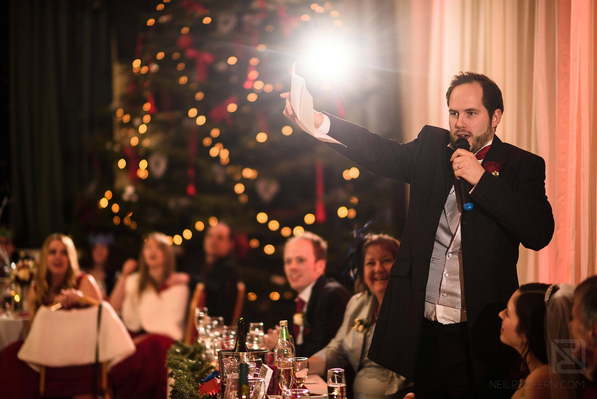 groom delivering wedding speech at The Bowdon Rooms