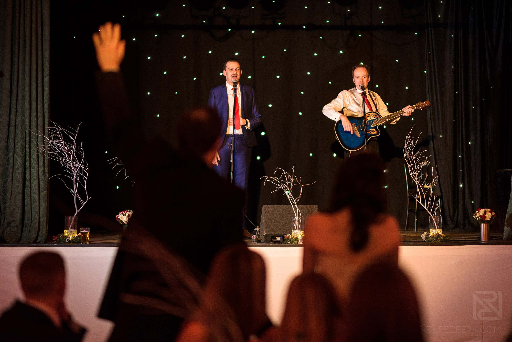 musicians onstage at wedding at The Bowdon Rooms