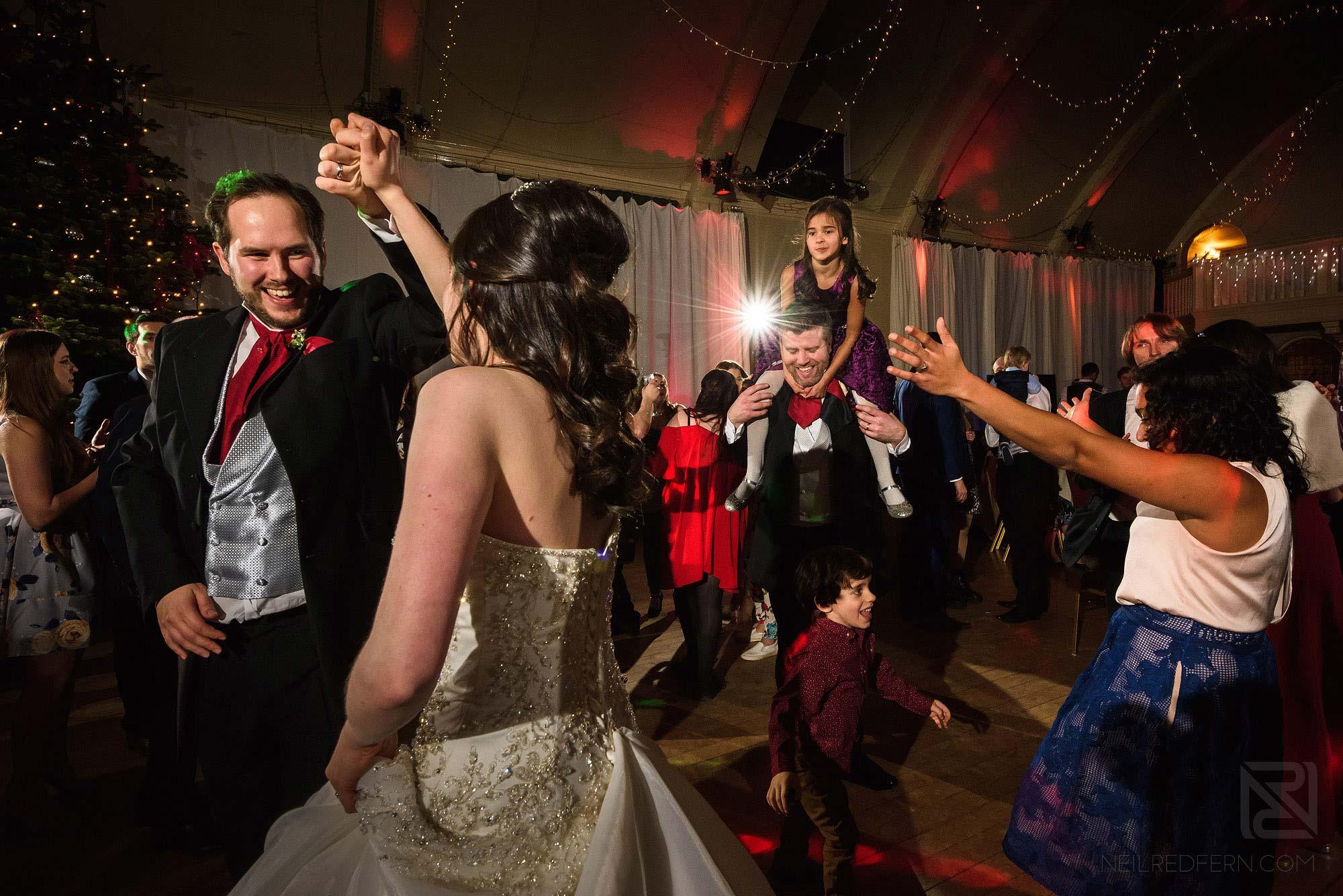 wedding guests dancing at The Bowdon Rooms