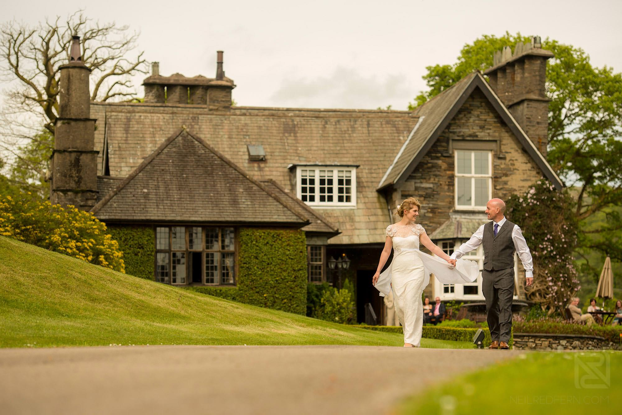 bride and groom having fun at Broadoaks Country House