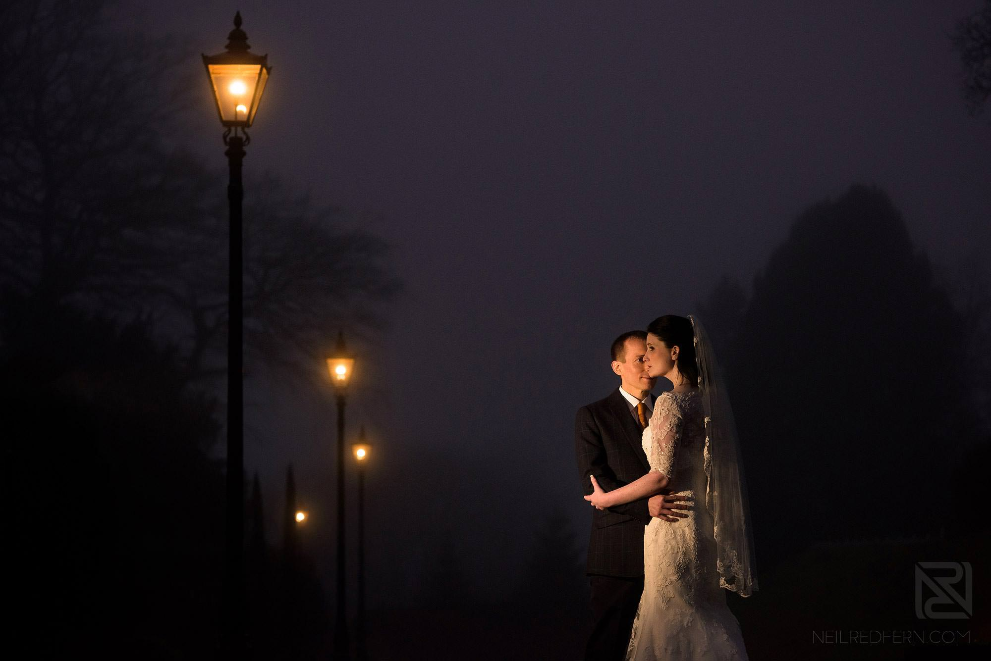 evening portrait photograph of bride and groom in the Lake District