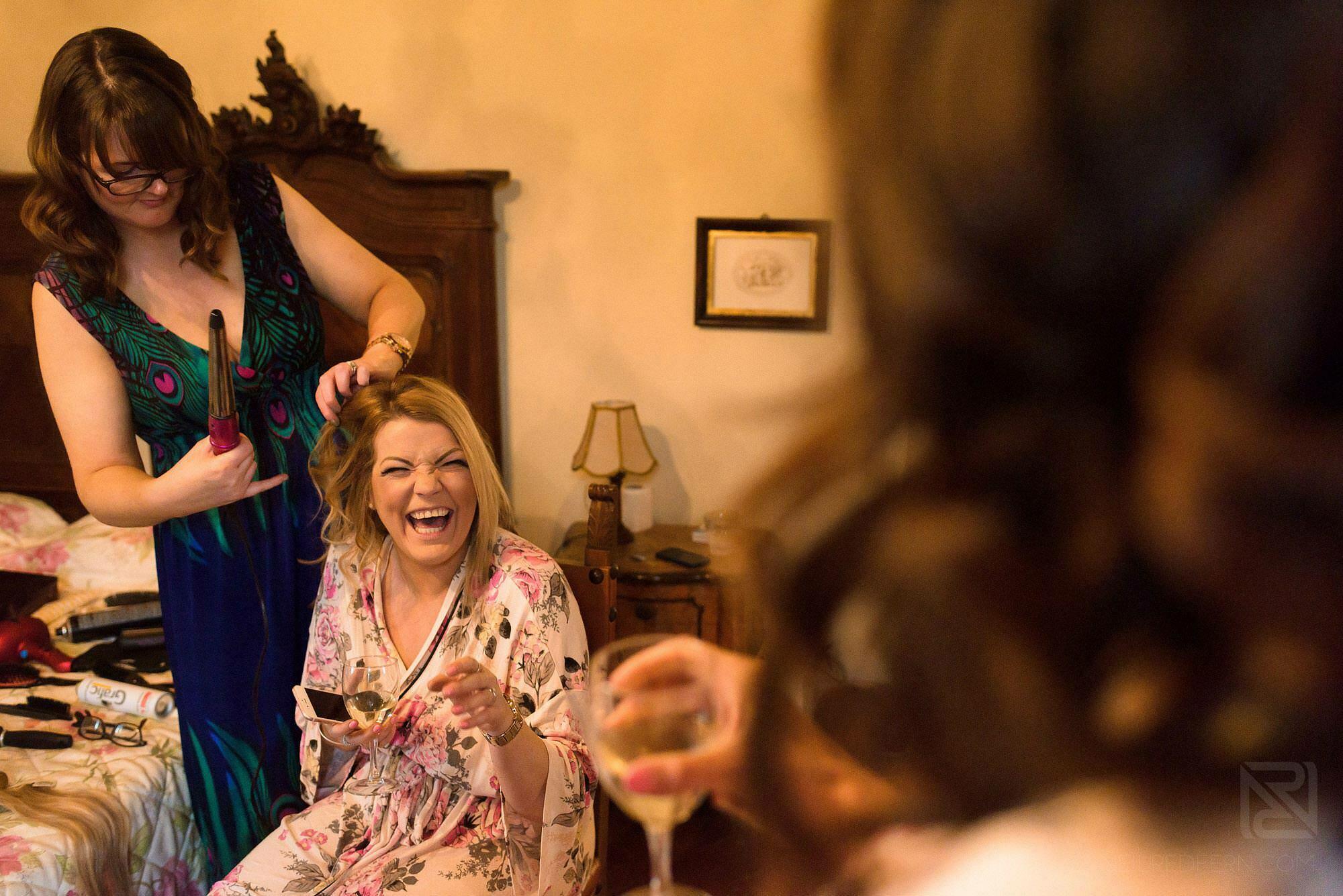 bridesmaid laughing