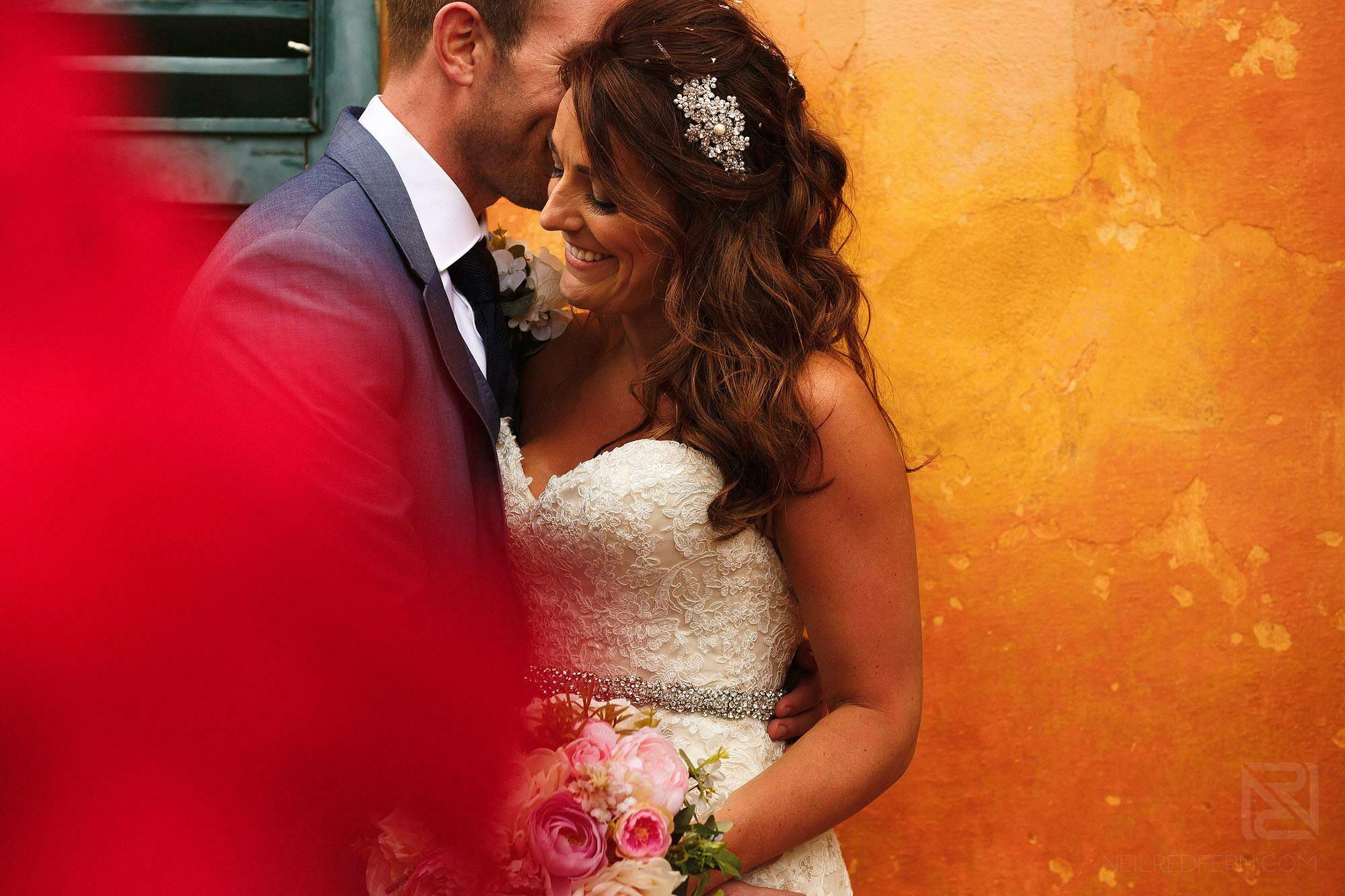 bride and groom portrait at Montestigliano